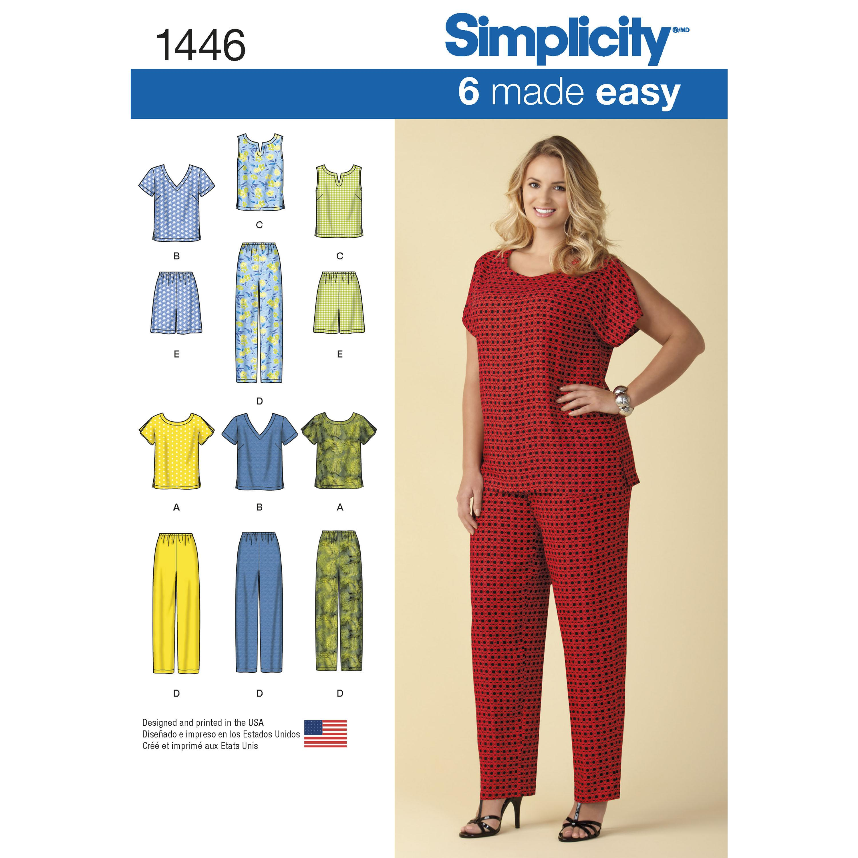 Simplicity S1446 Six Made Easy Pull on Tops and Trousers or Shorts for Plus Size