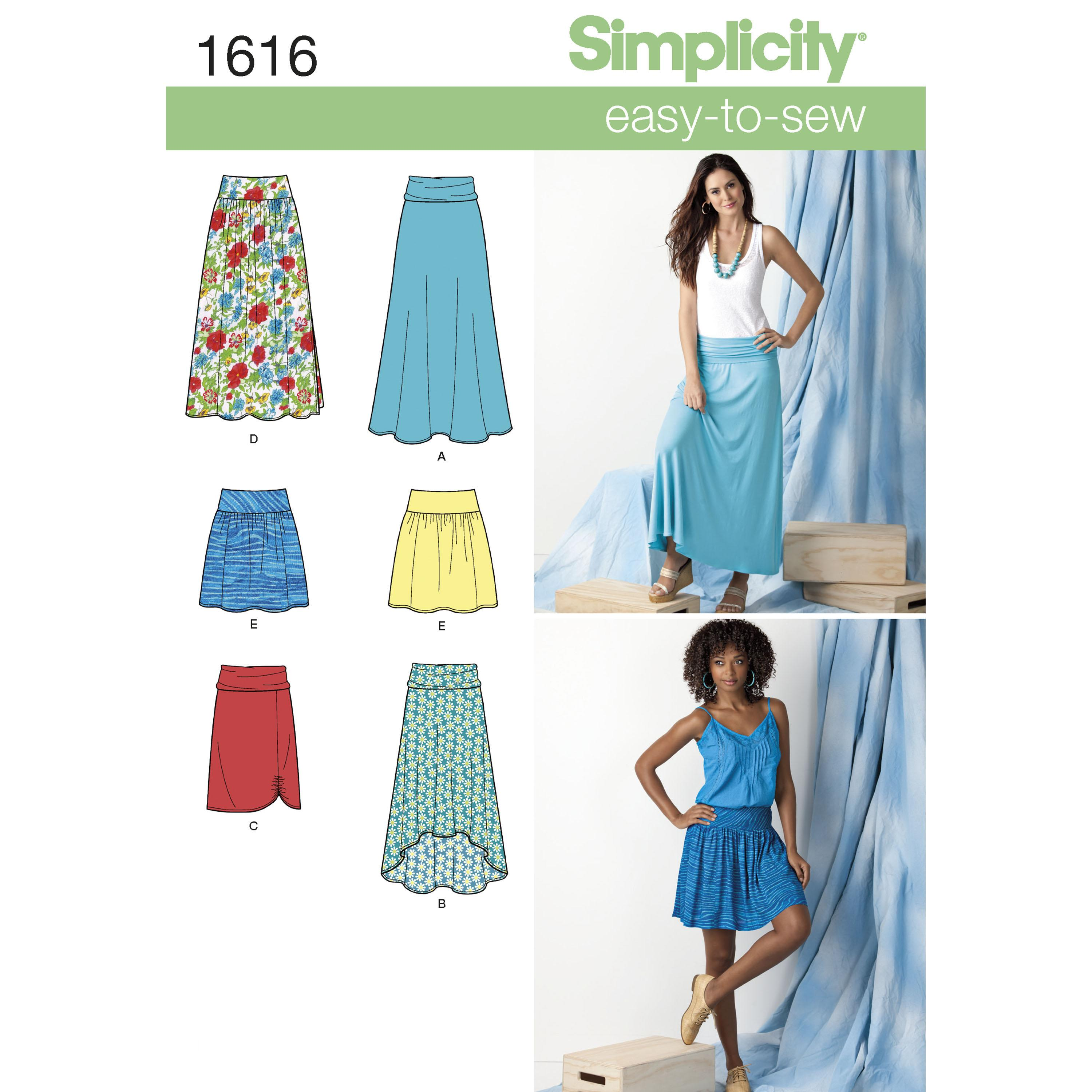 Simplicity S1616 Women's Knit or Woven Skirts