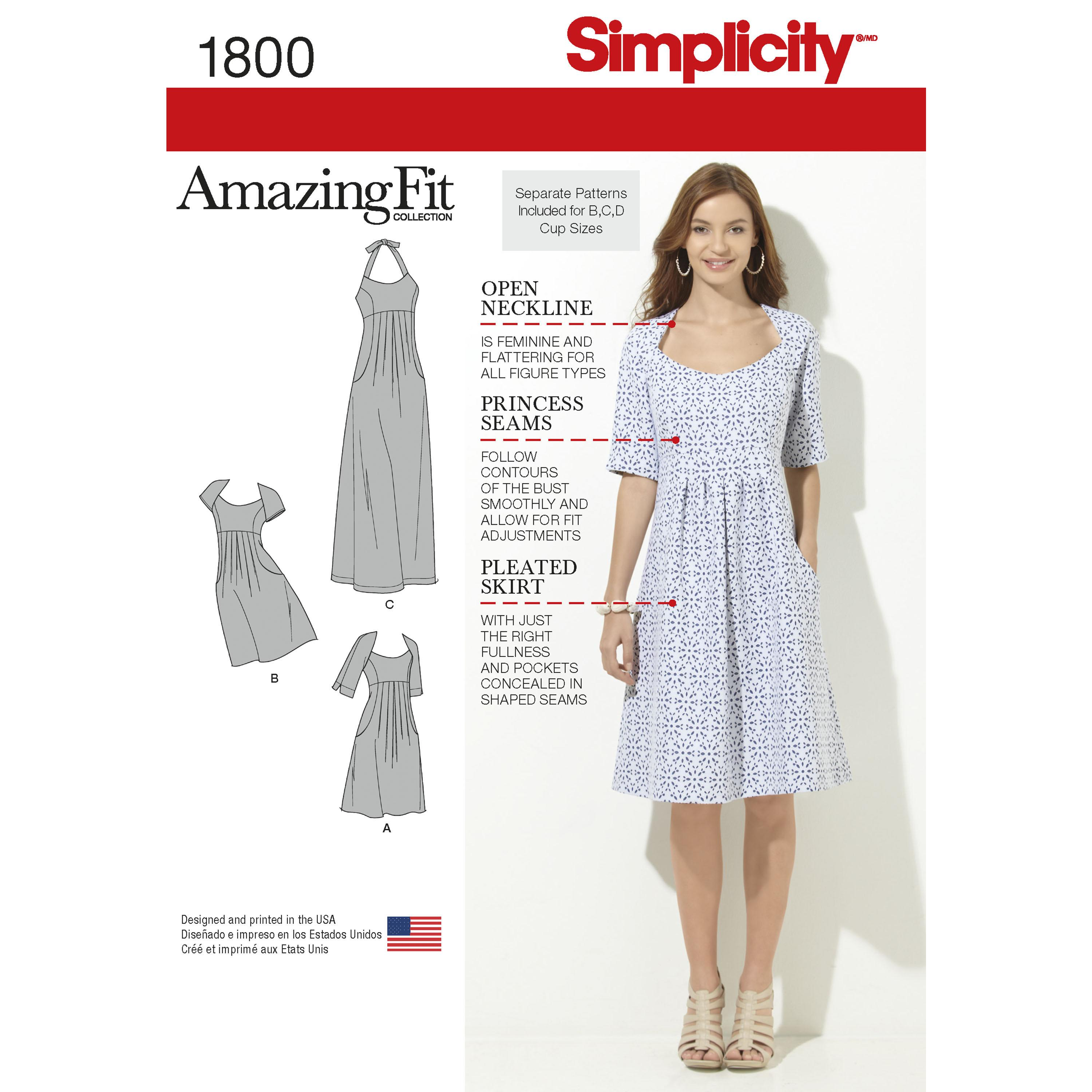 Simplicity S1800 Women's & Plus Size Amazing Fit Dresses