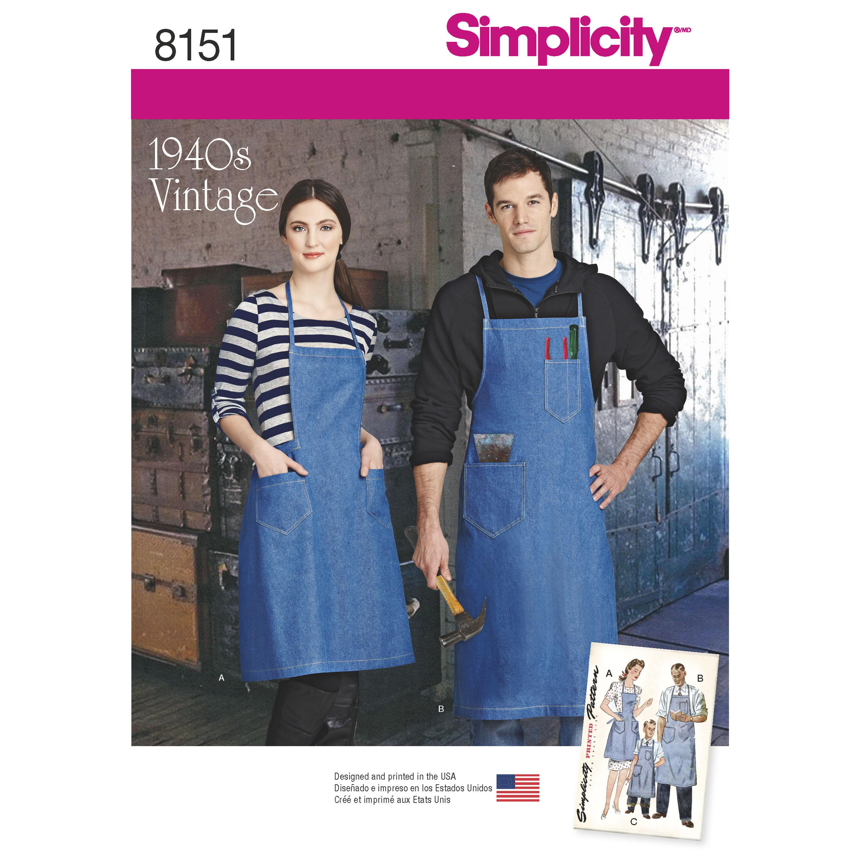 Simplicity S8151 Vintage Aprons for Boys, Girls, Women's and Men