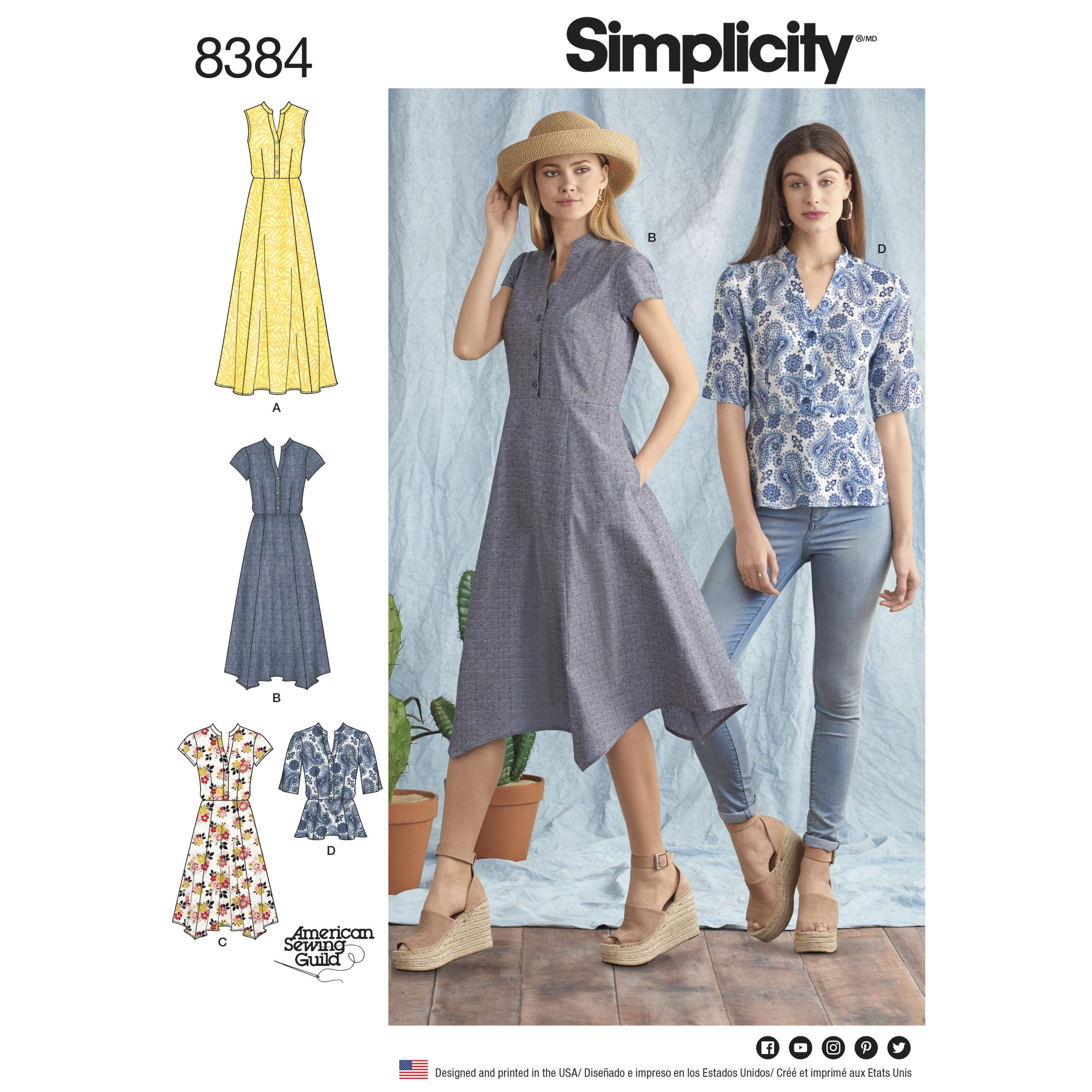 Simplicity S8384 Womens Dress with Length Variations and Top