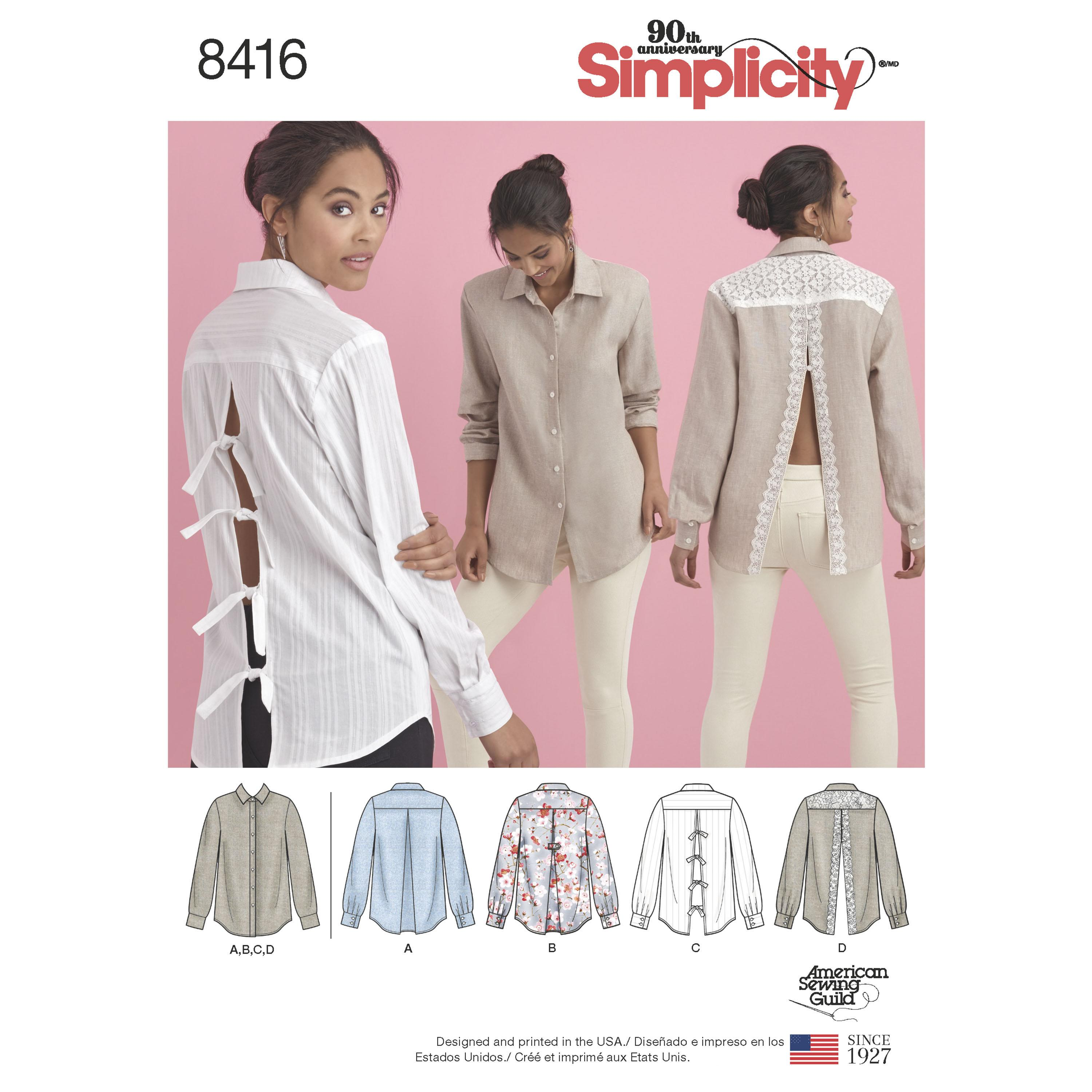 Simplicity S8416 Women's Shirt with Back Variations