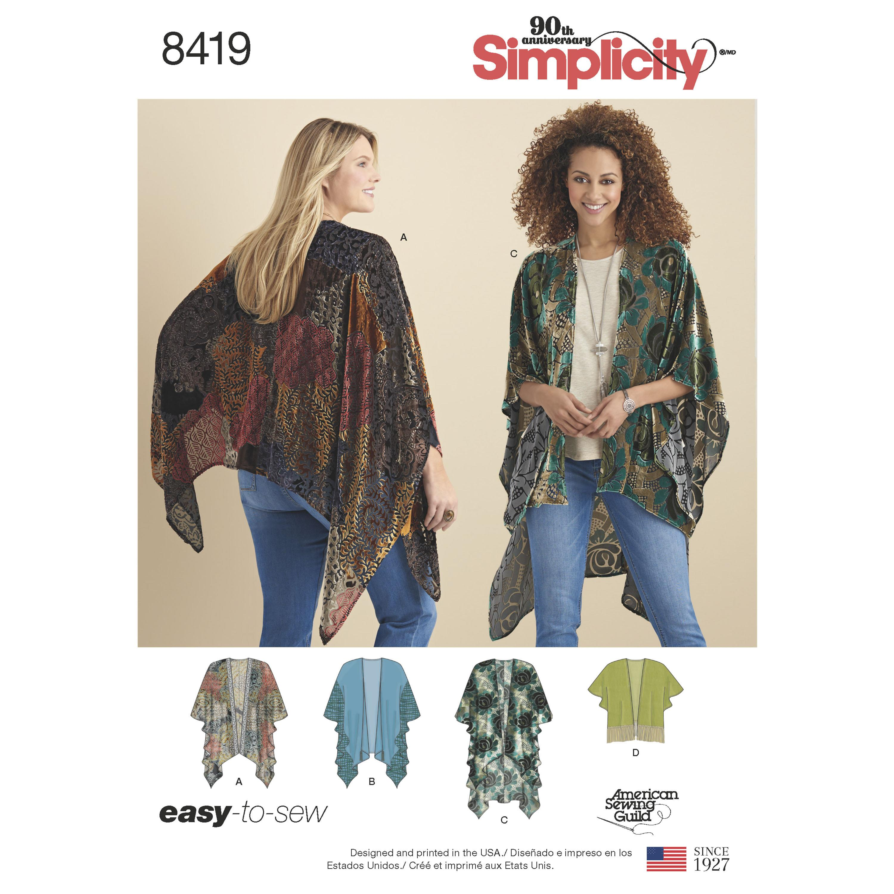 Simplicity S8419 Women's Kimono Style Wrap with Variations