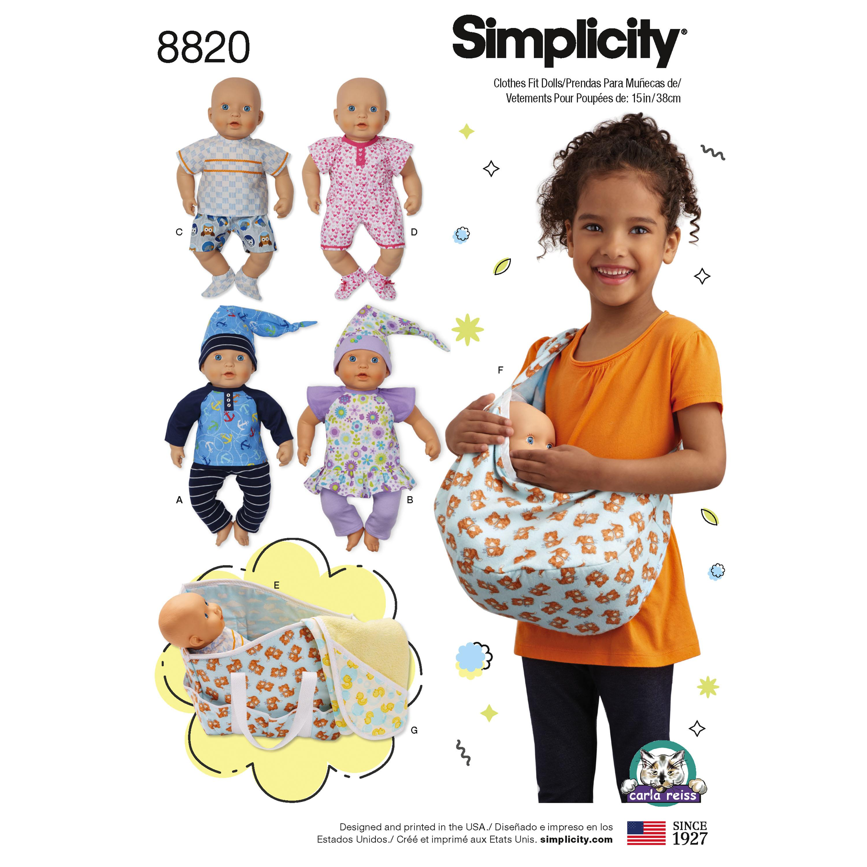 "Simplicity S8820 15"" Baby Doll Clothes"