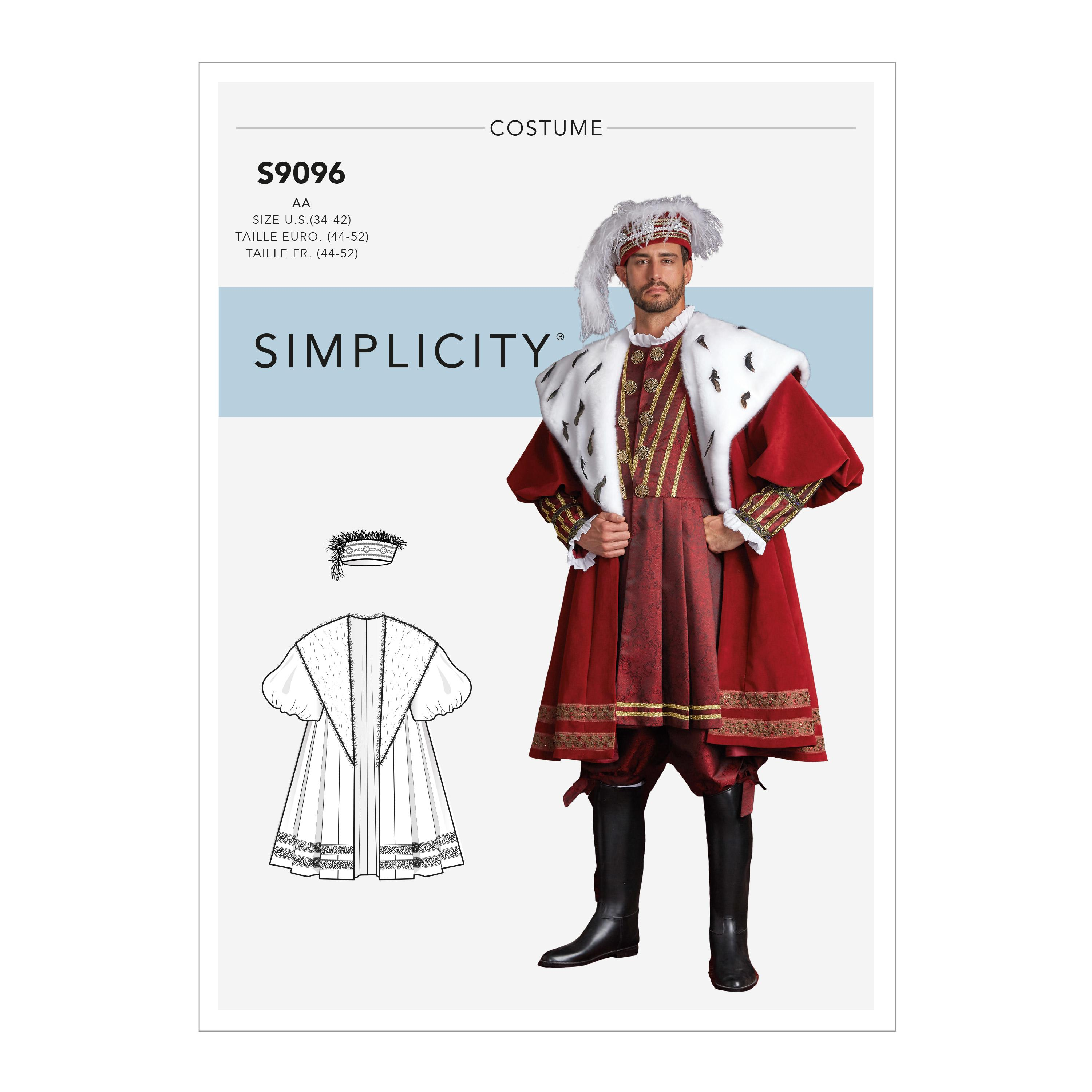 Simplicity S9096 Men's Historical Costume Coat With Hat In Three Sizes