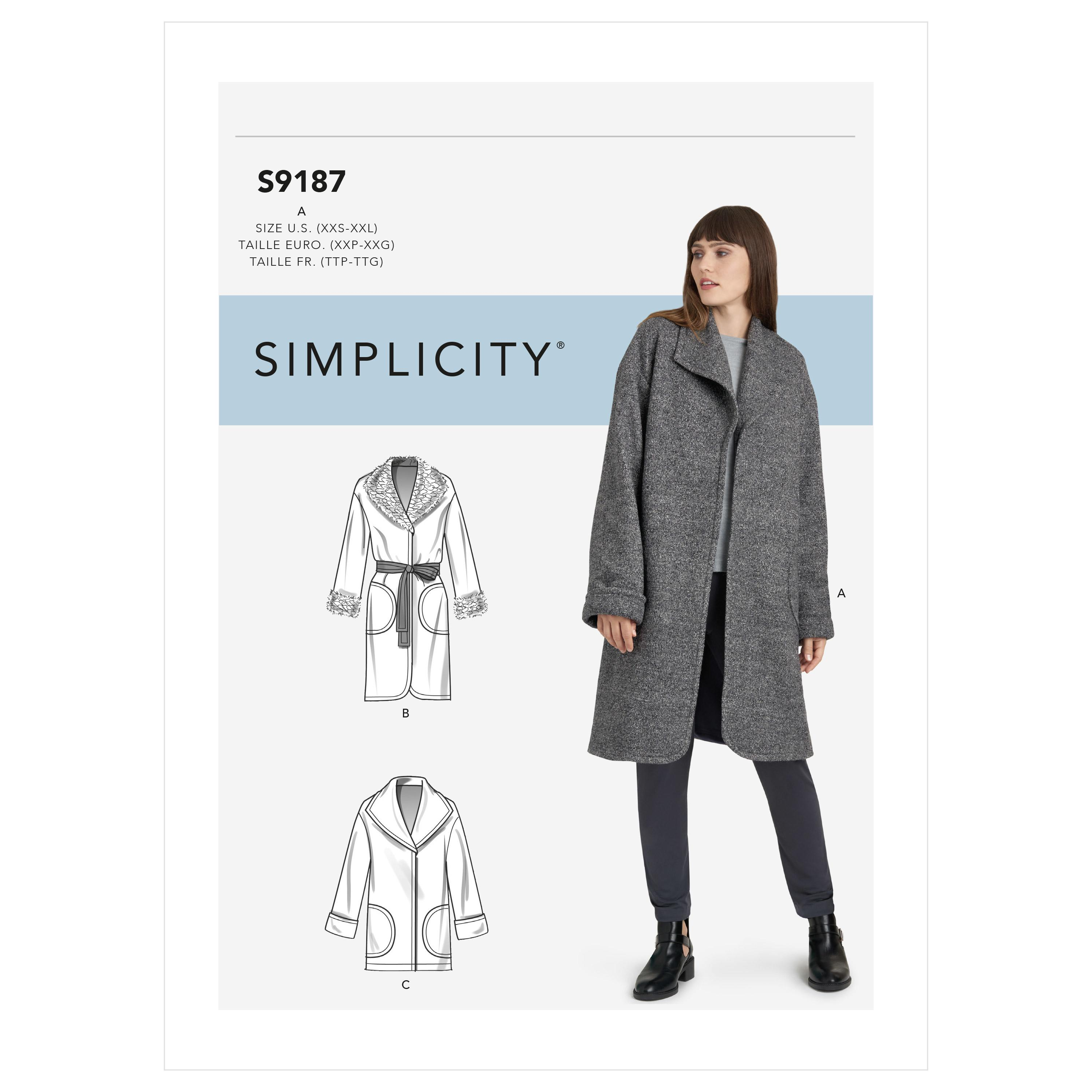 Simplicity S9187 Misses' Jacket & Coats