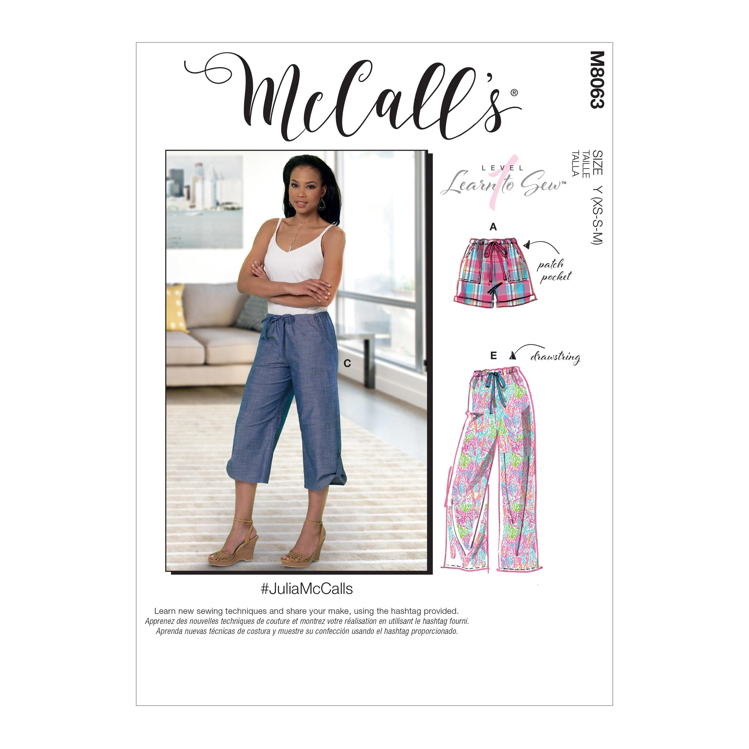 McCalls M8063 Misses Pants, Jumpsuits & Shorts