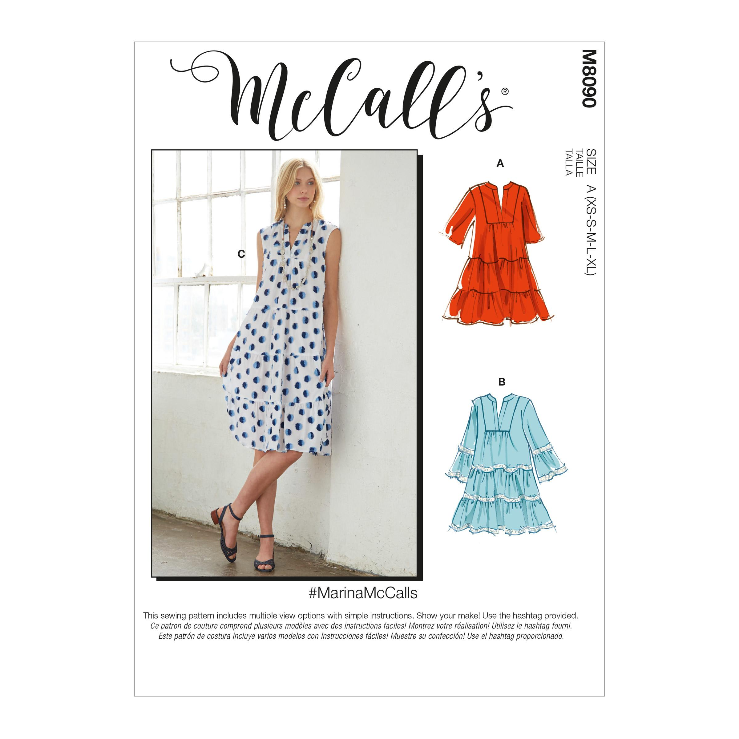 McCalls M8090 #MarinaMcCalls - Misses' Dresses & Belt
