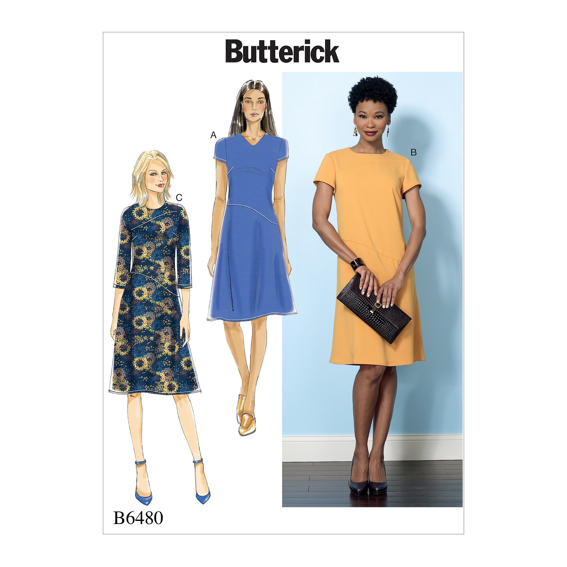 Butterick B6480 Misses' Fitted Dresses with Hip Detail, Neck and Sleeve Variations