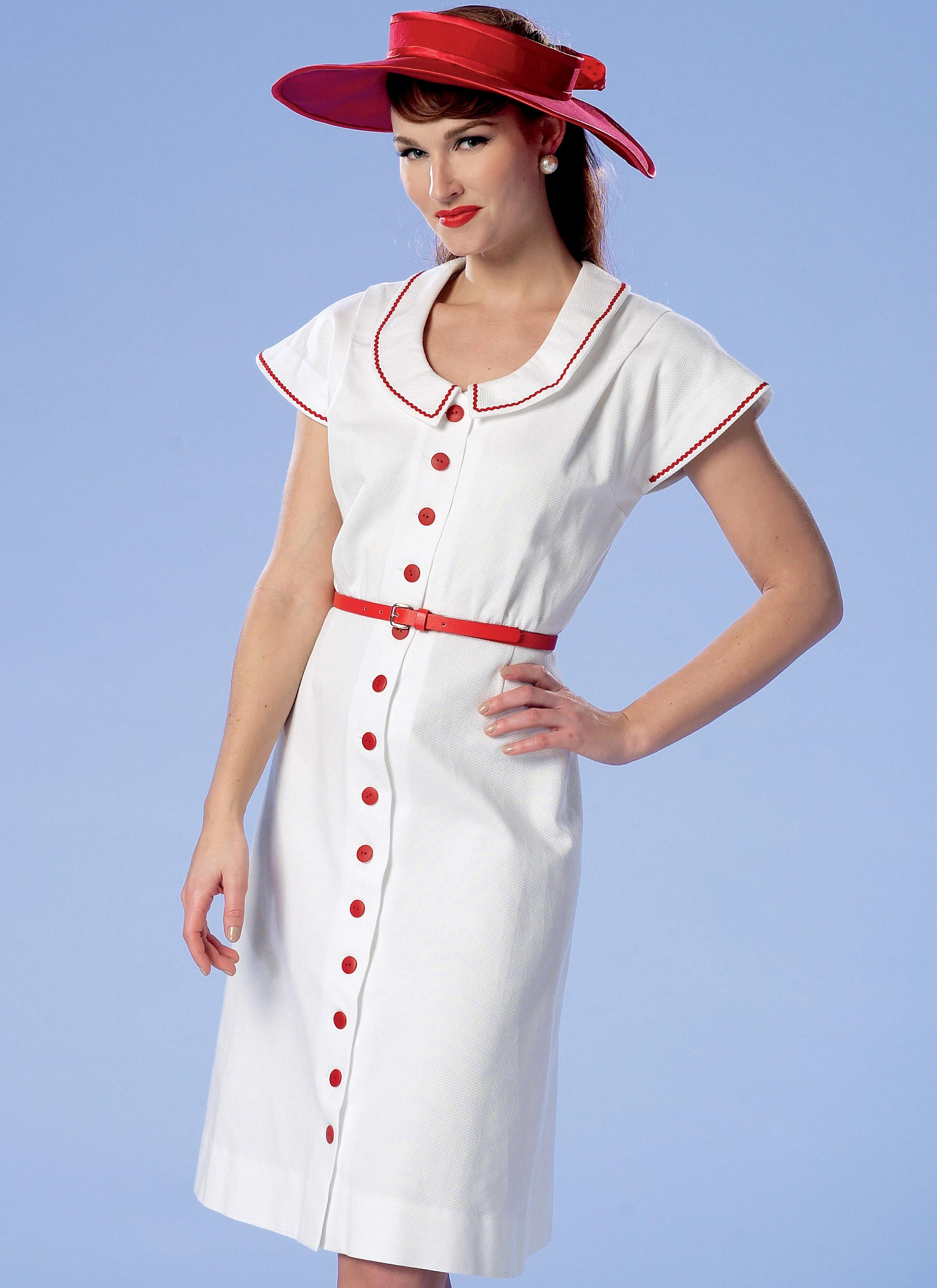 Butterick B6363 Misses' Button-Front, Flutter Sleeve Dresses and Sun Hat