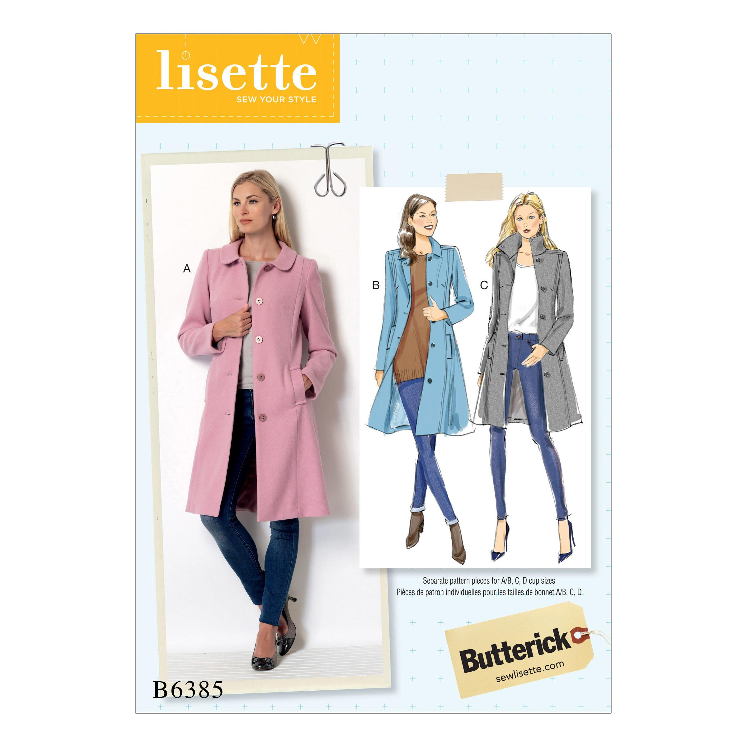 Butterick B6385 Misses' Funnel-Neck, Peter Pan or Pointed Collar Coats