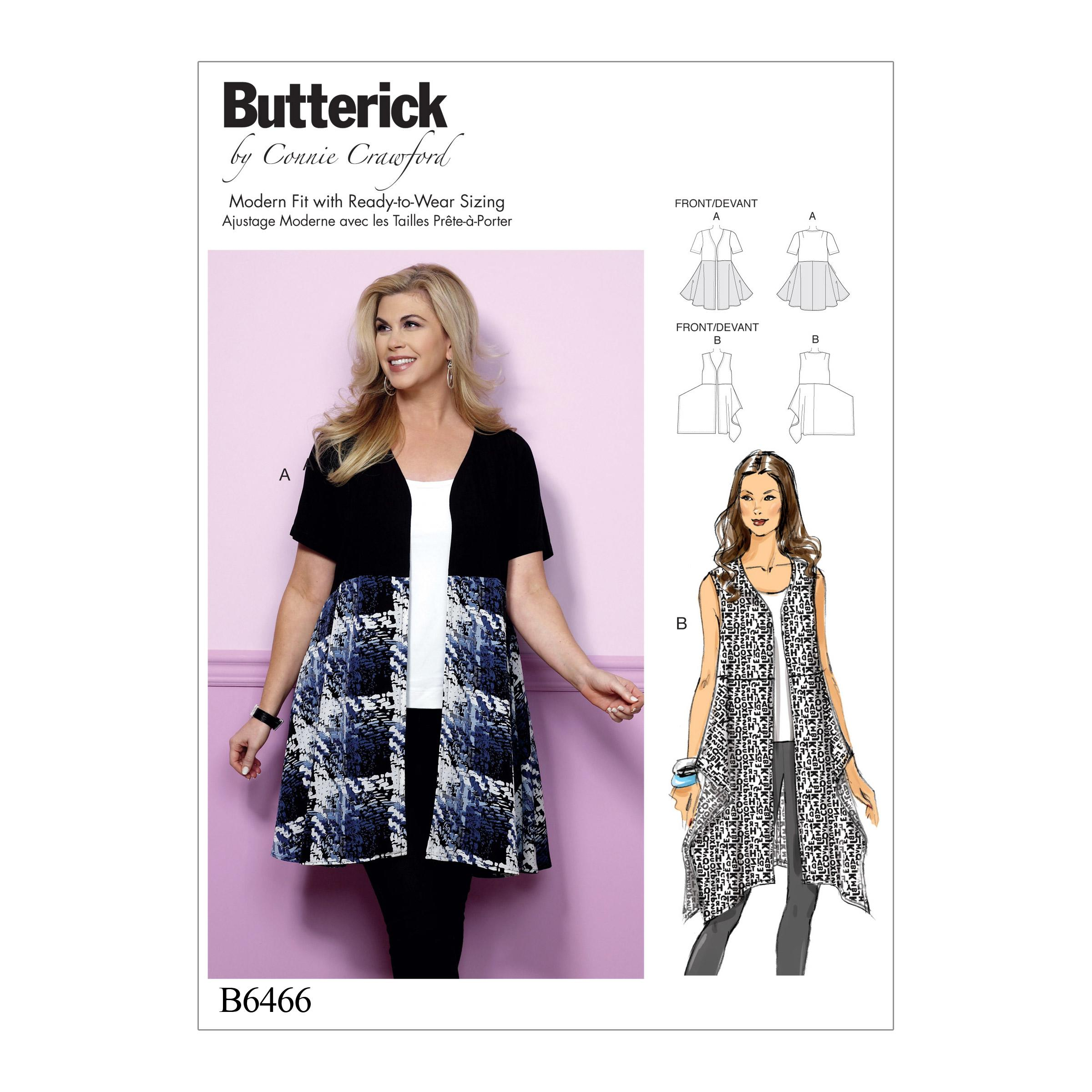Butterick B6466 Misses'/Women's Open-Front, Flared Tunics