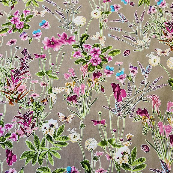 Cotton Lawn Floral on Taupe
