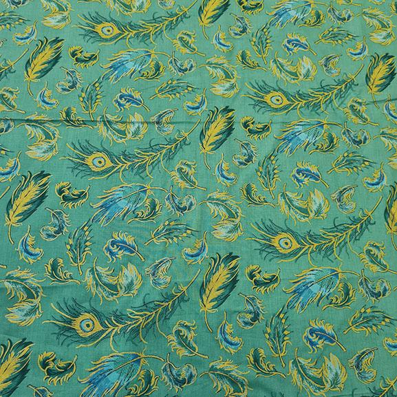 Green and Gold Leaves on Mint Green Background Cotton Lawn