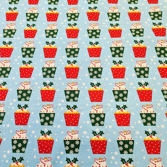 Christmas Puddings on Blue Poplin