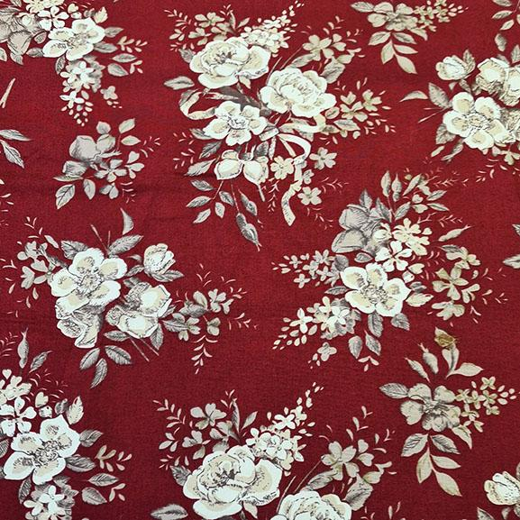 Cream Roses on Maroon Poplin