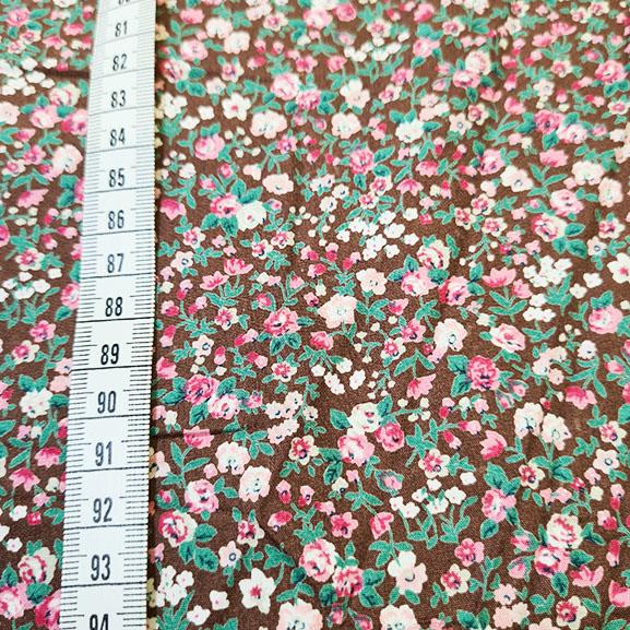 Small Pink Flowers on Brown Poplin