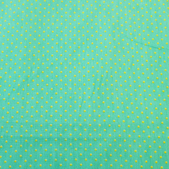 Yellow Spot on Turquoise Poplin