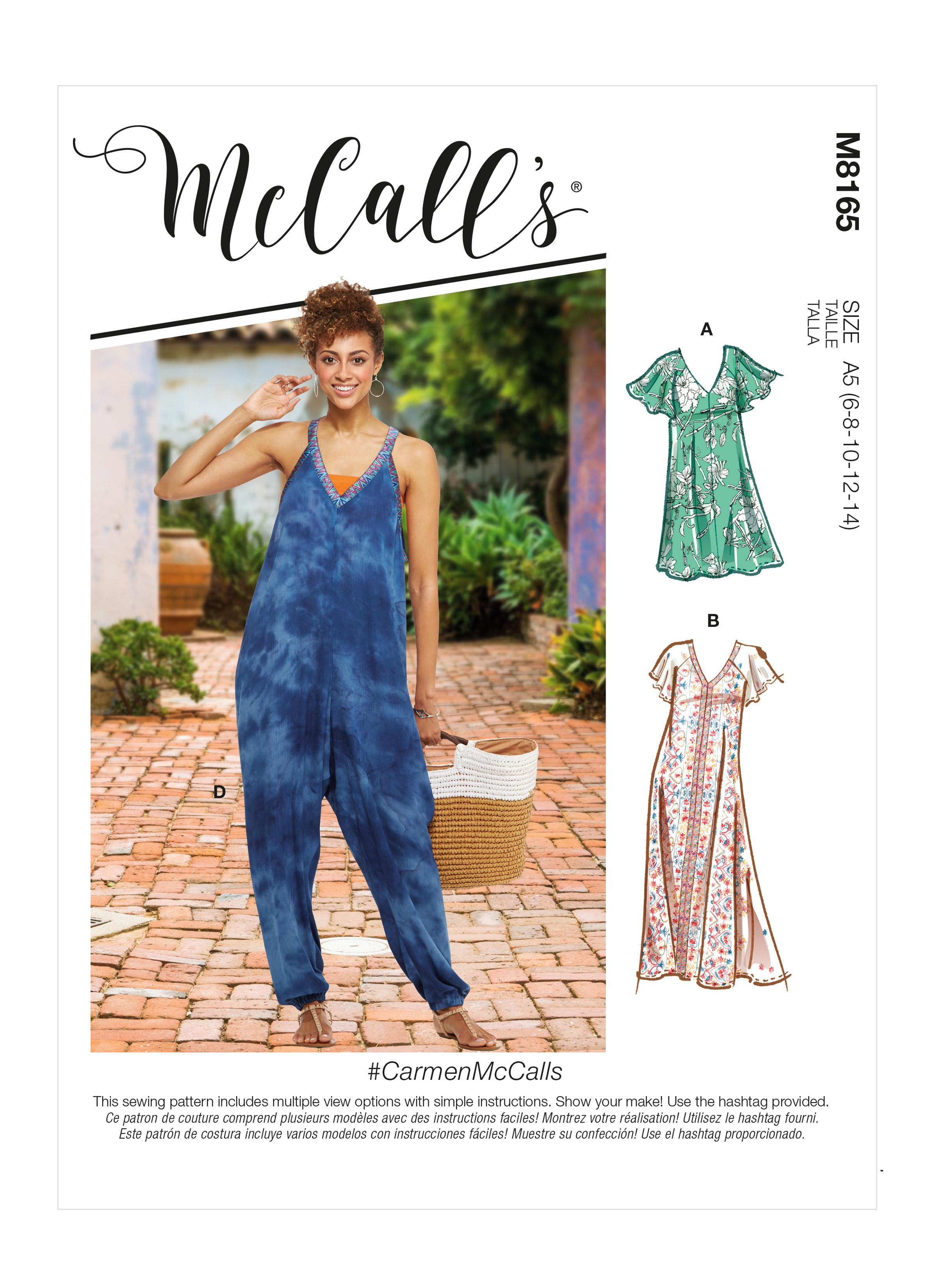 McCalls M8165 #CarmenMcCalls - Misses' Very Loose-fitting V-neck Dresses & Jumpsuit