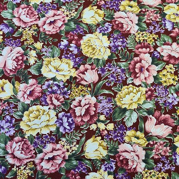 Mixed flower on Maroon Poplin