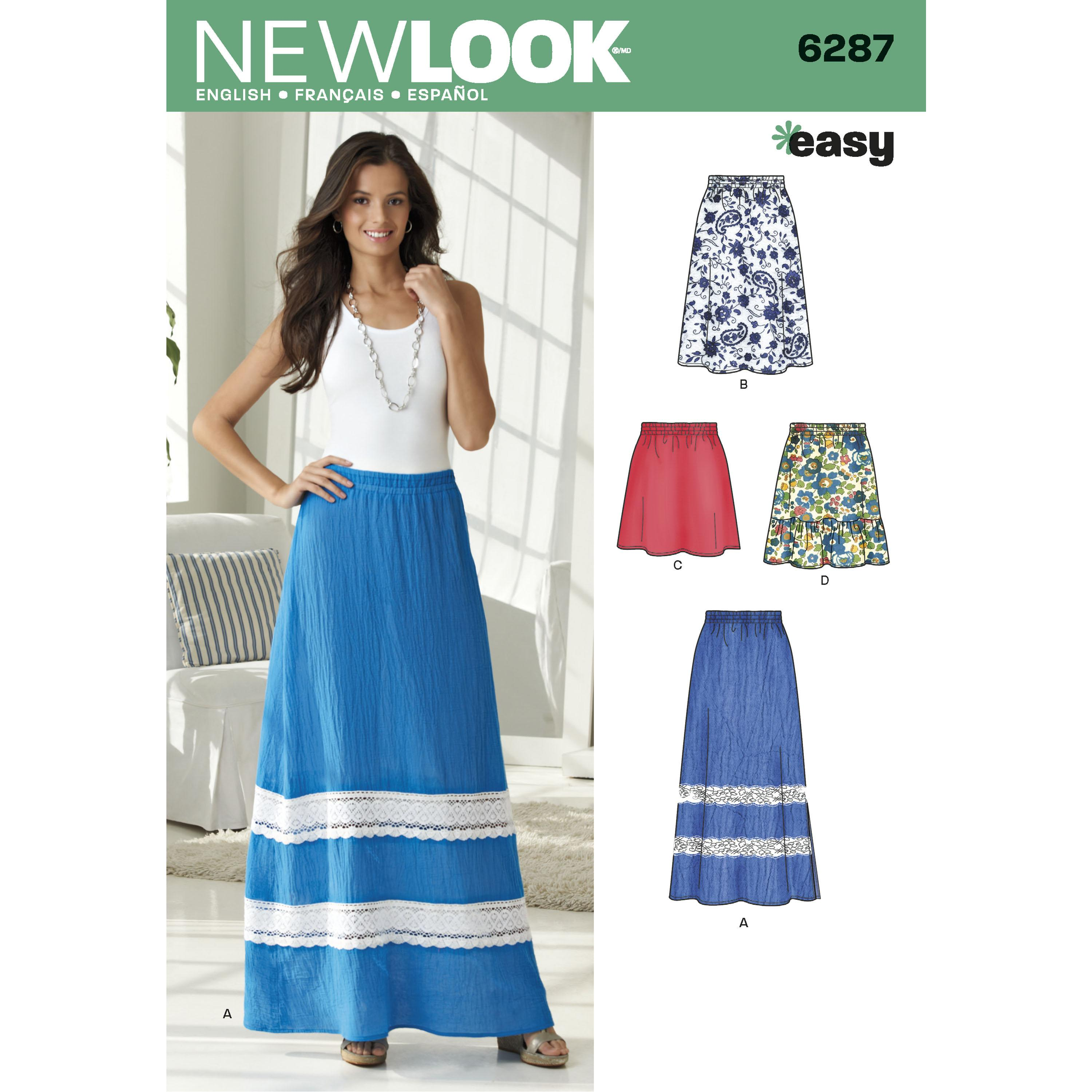 NewLook N6287 Misses' Pull on Skirt in Four Lengths
