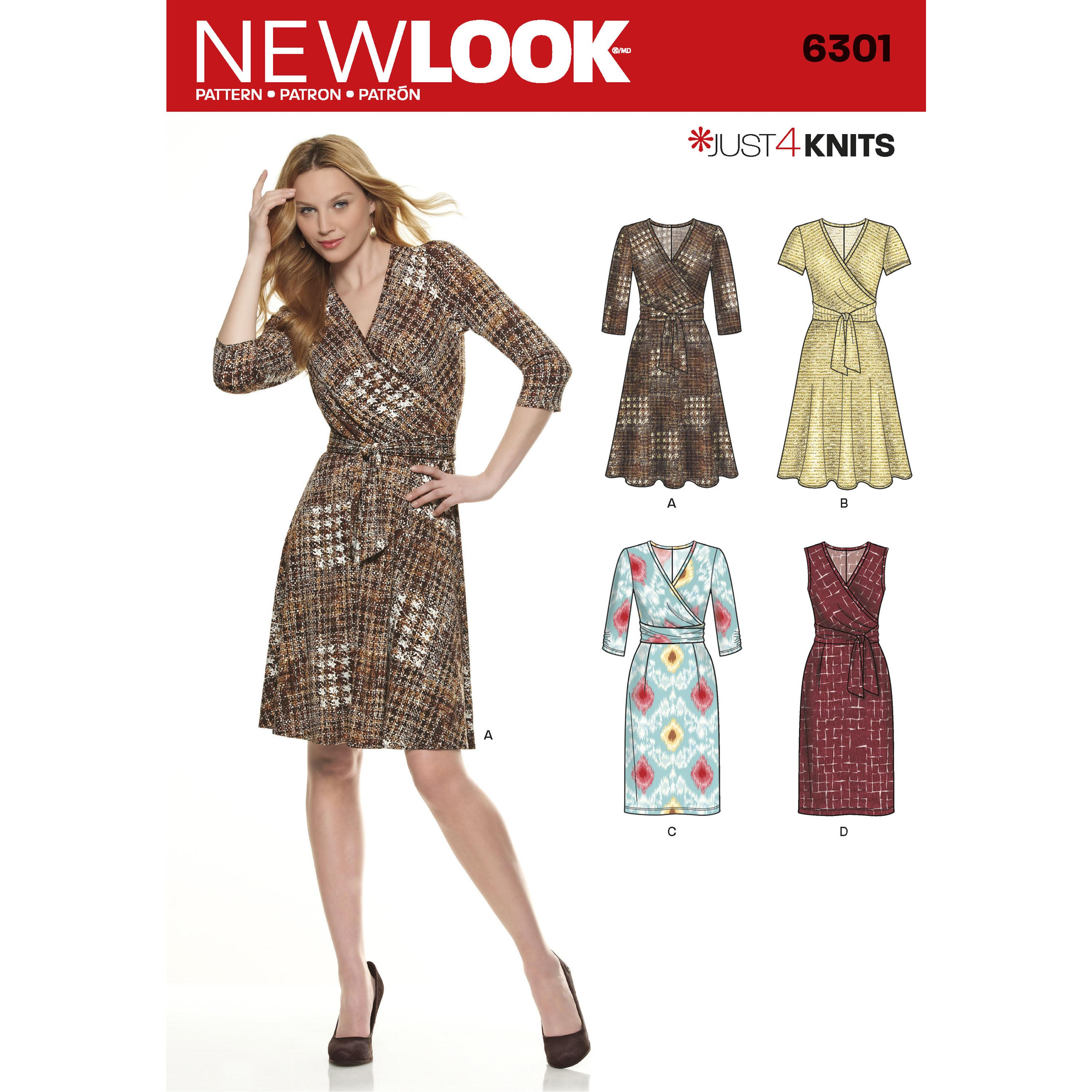 NewLook N6301 Misses' Mock Wrap Knit Dress
