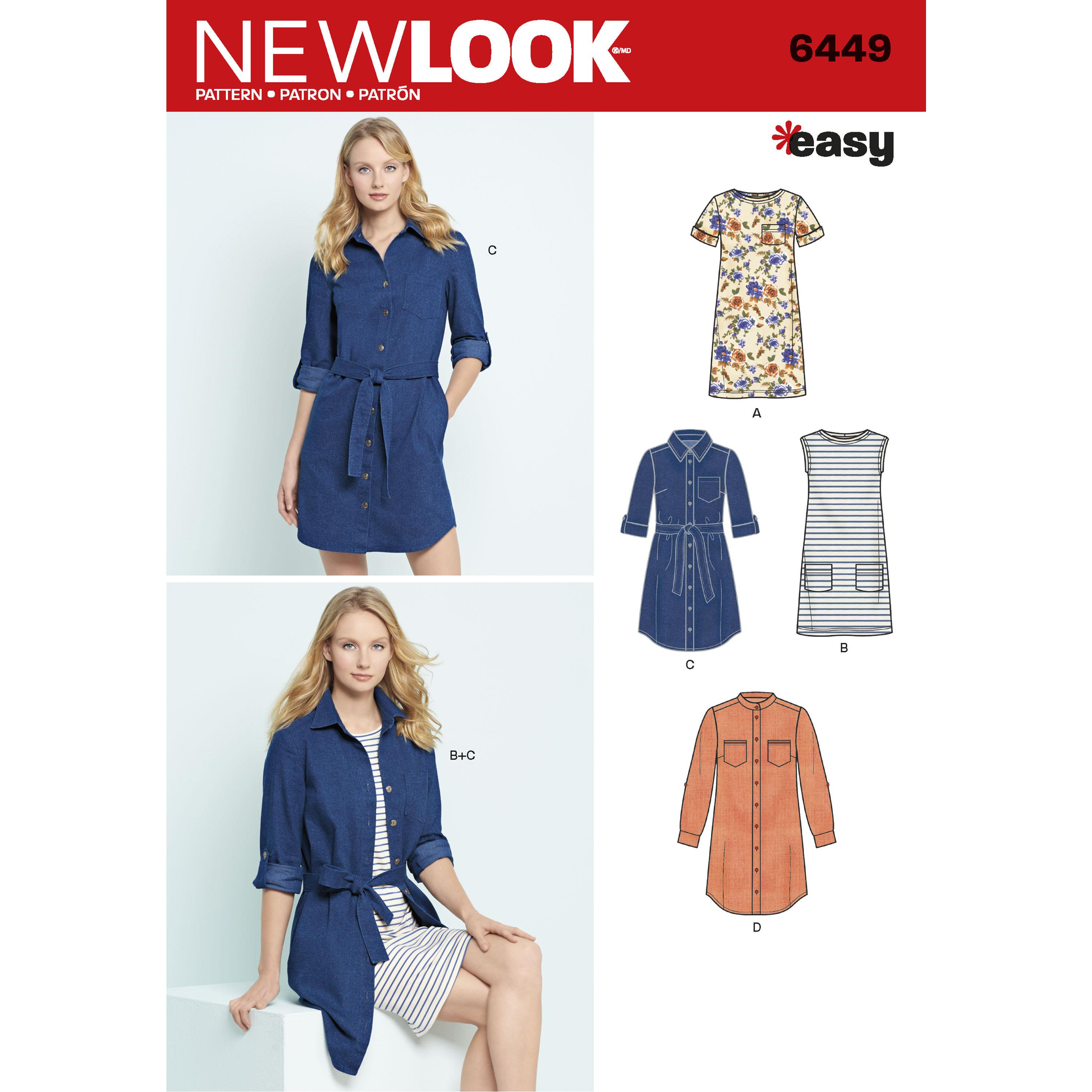 NewLook N6449 Misses' Easy Shirt Dress and Knit Dress