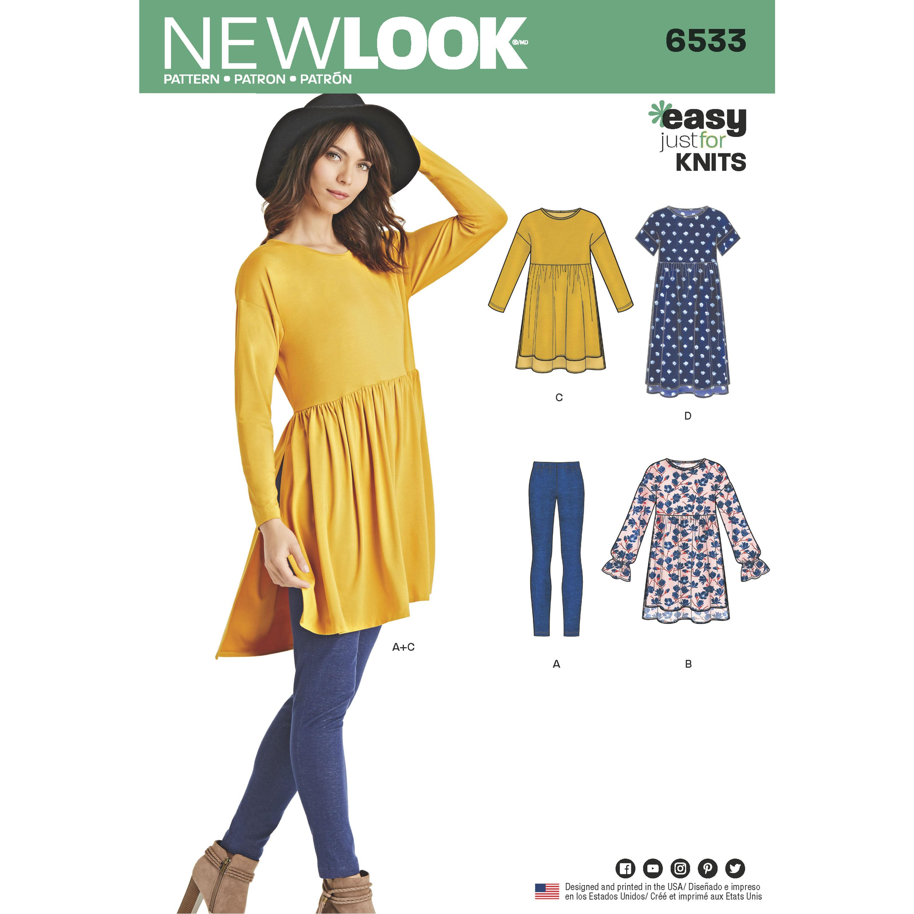 NewLook N6533 Women?s Babydoll Top with Leggings