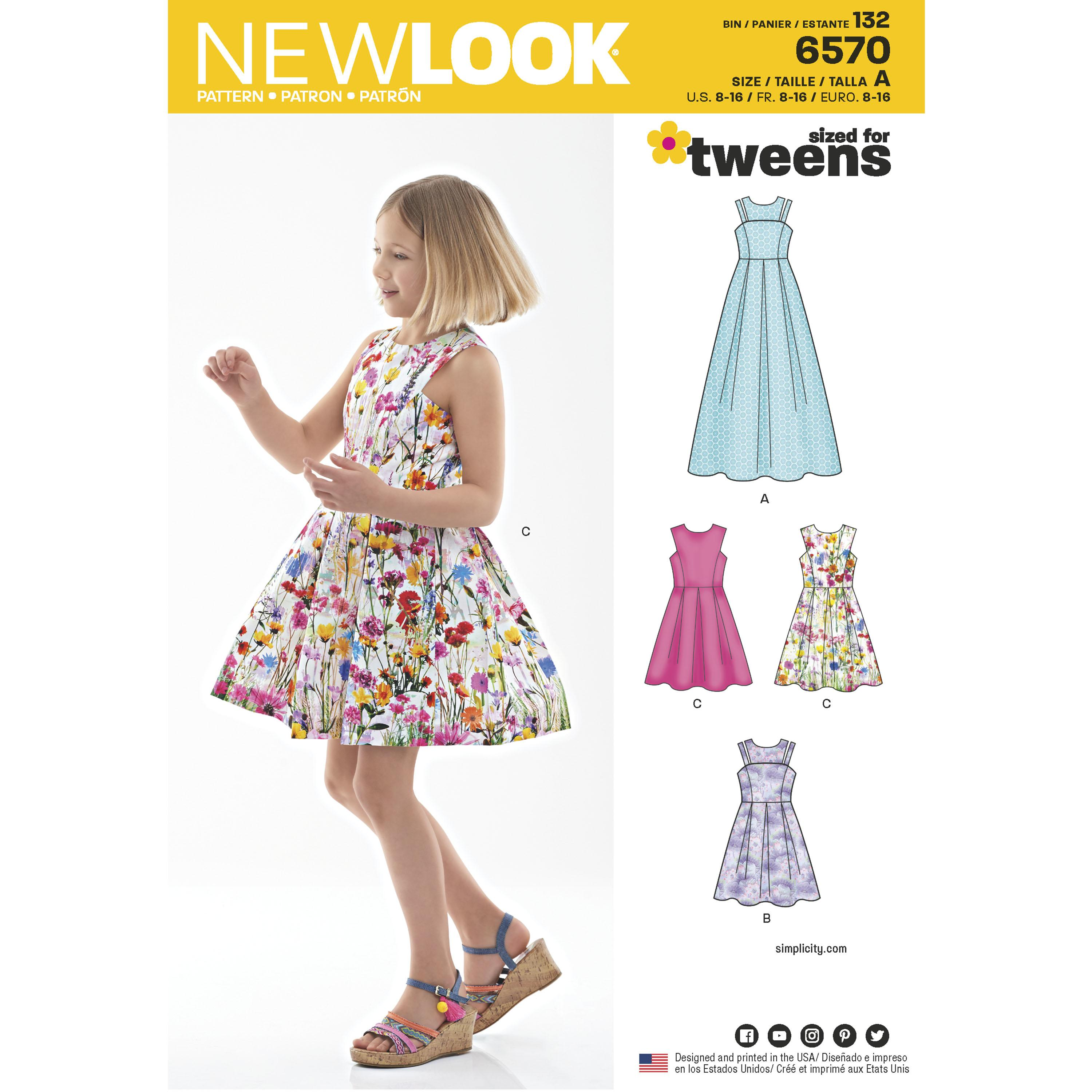 NewLook N6570 Girl's Dress in Two Lengths