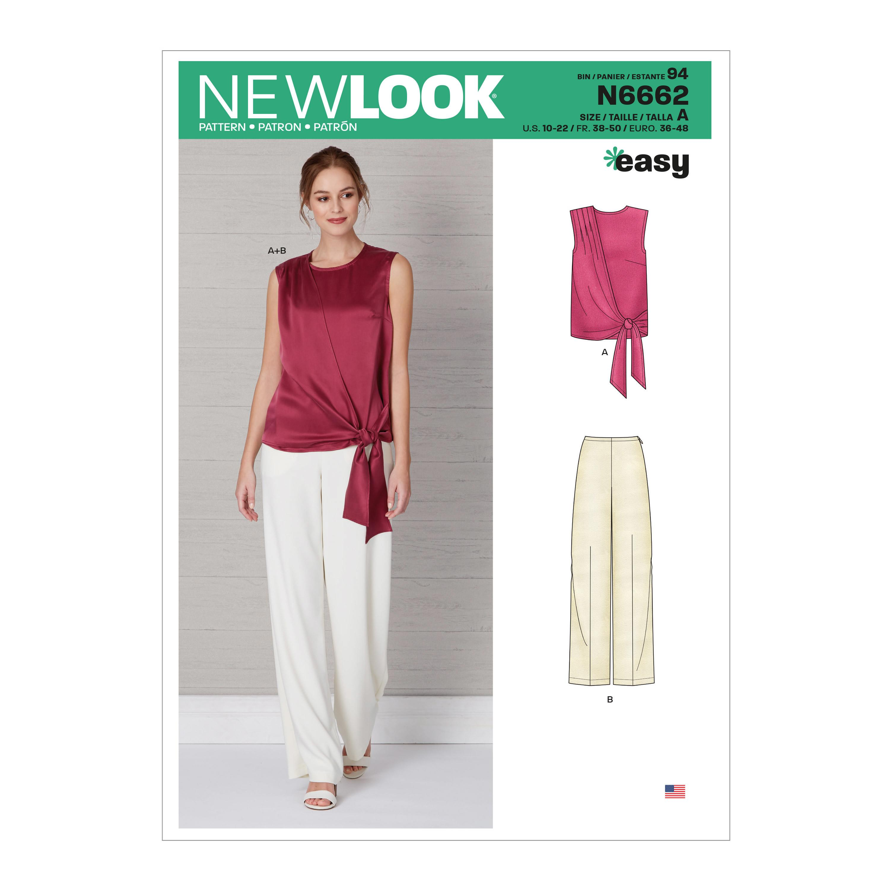 New Look Sewing Pattern N6662 Misses' Drape Top & Wide Leg Pants