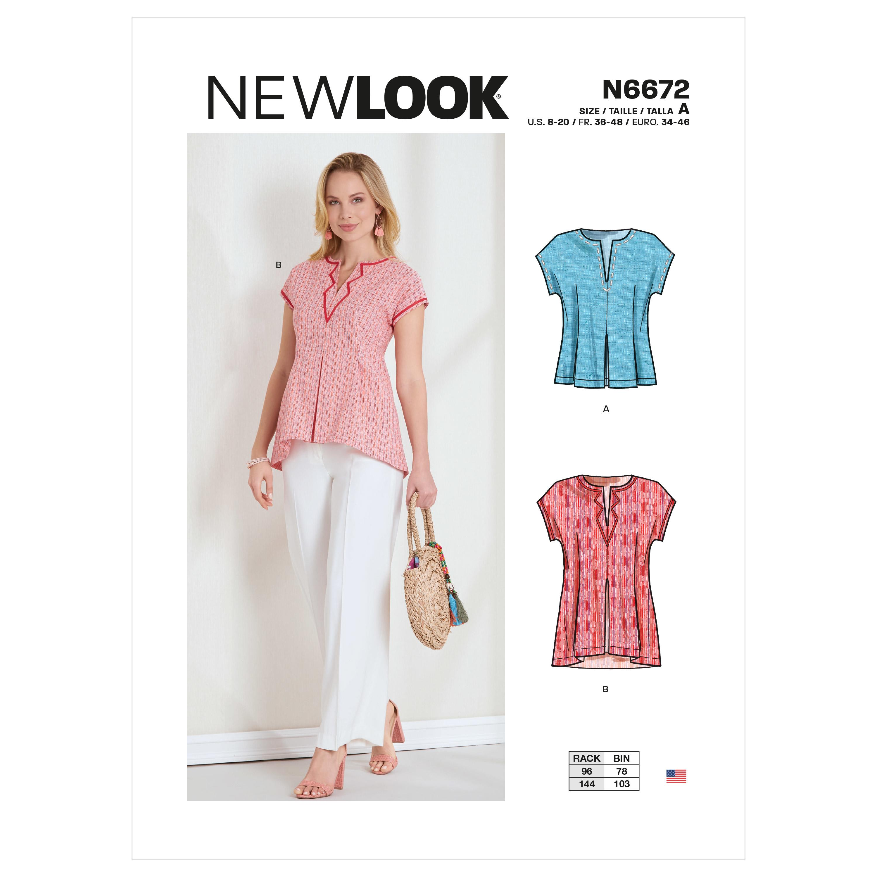 New Look Sewing Pattern N6672 Misses' Top or Tunic