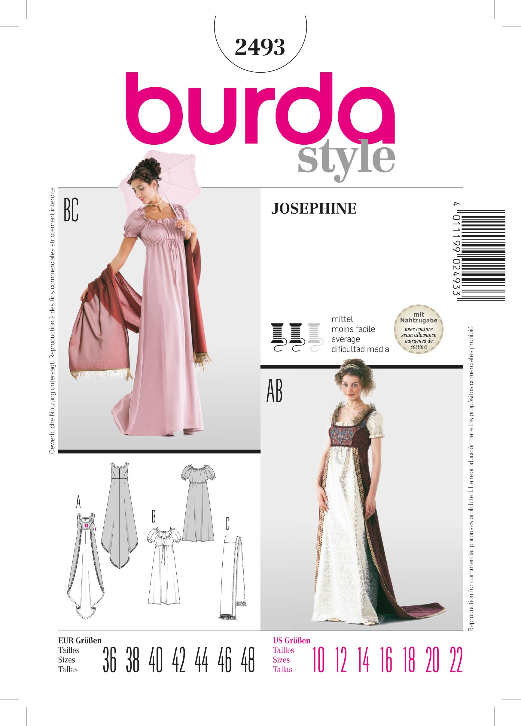 Burda B2493 Josephine Costume Sewing Pattern