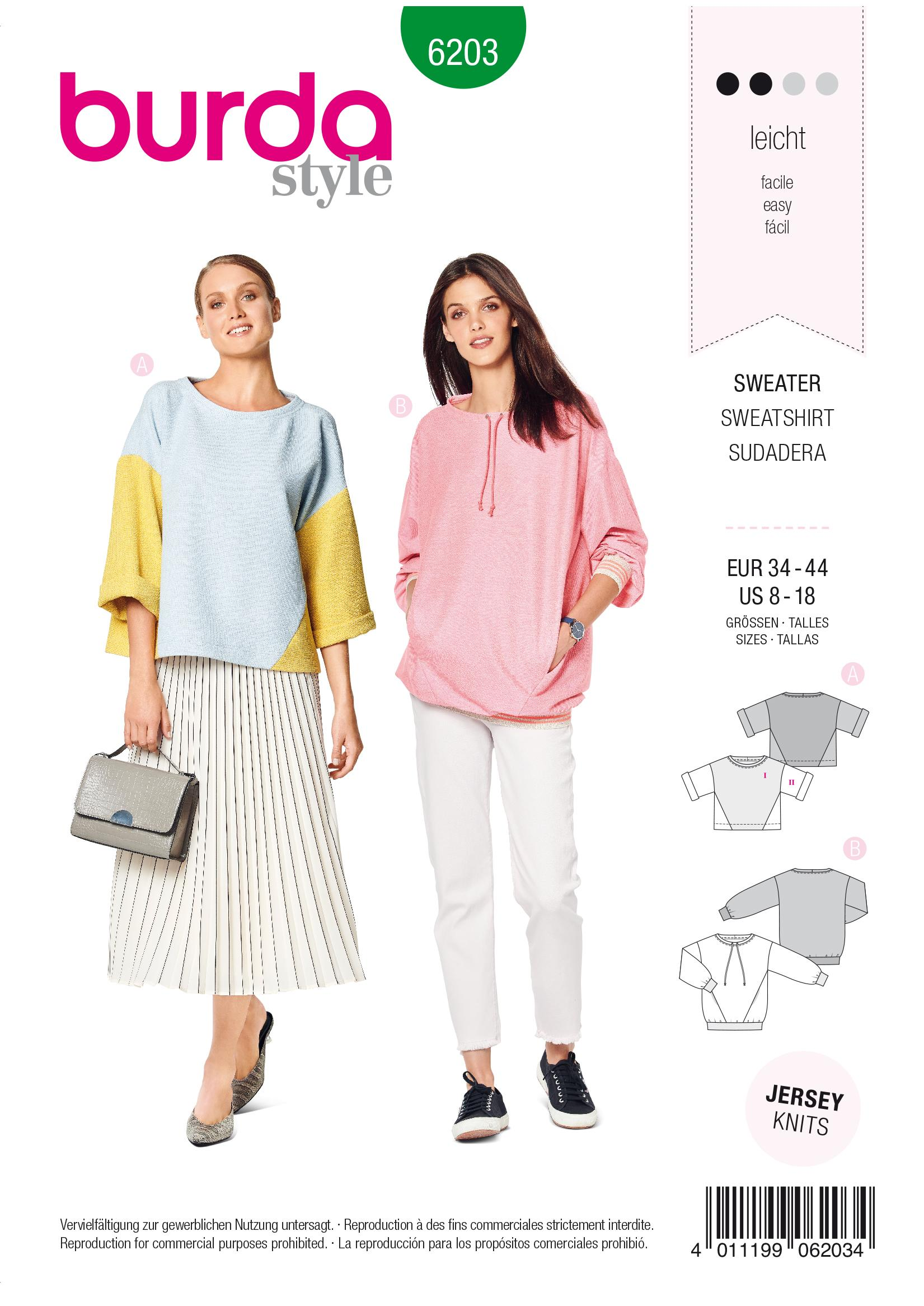 Burda B6203 Sweatshirt Sewing Pattern