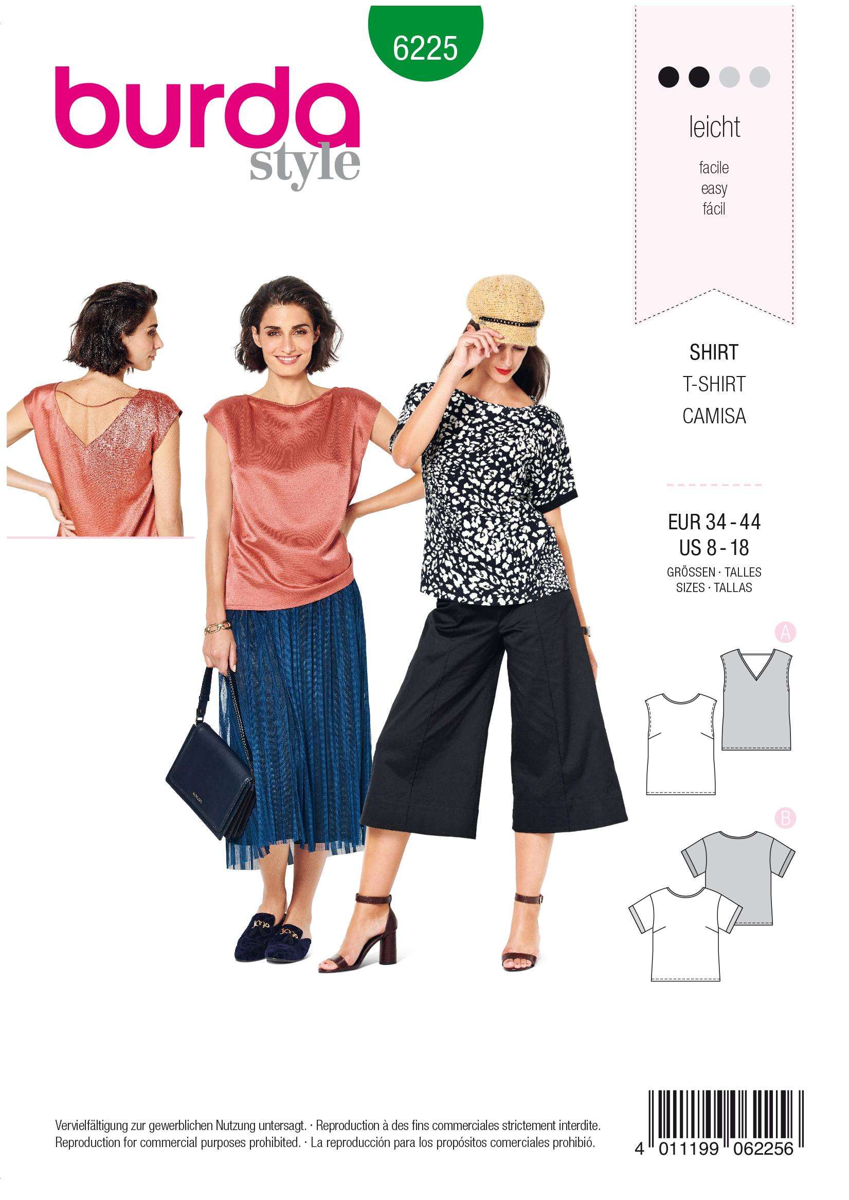Burda B6225 Women's Blouse Sewing Pattern
