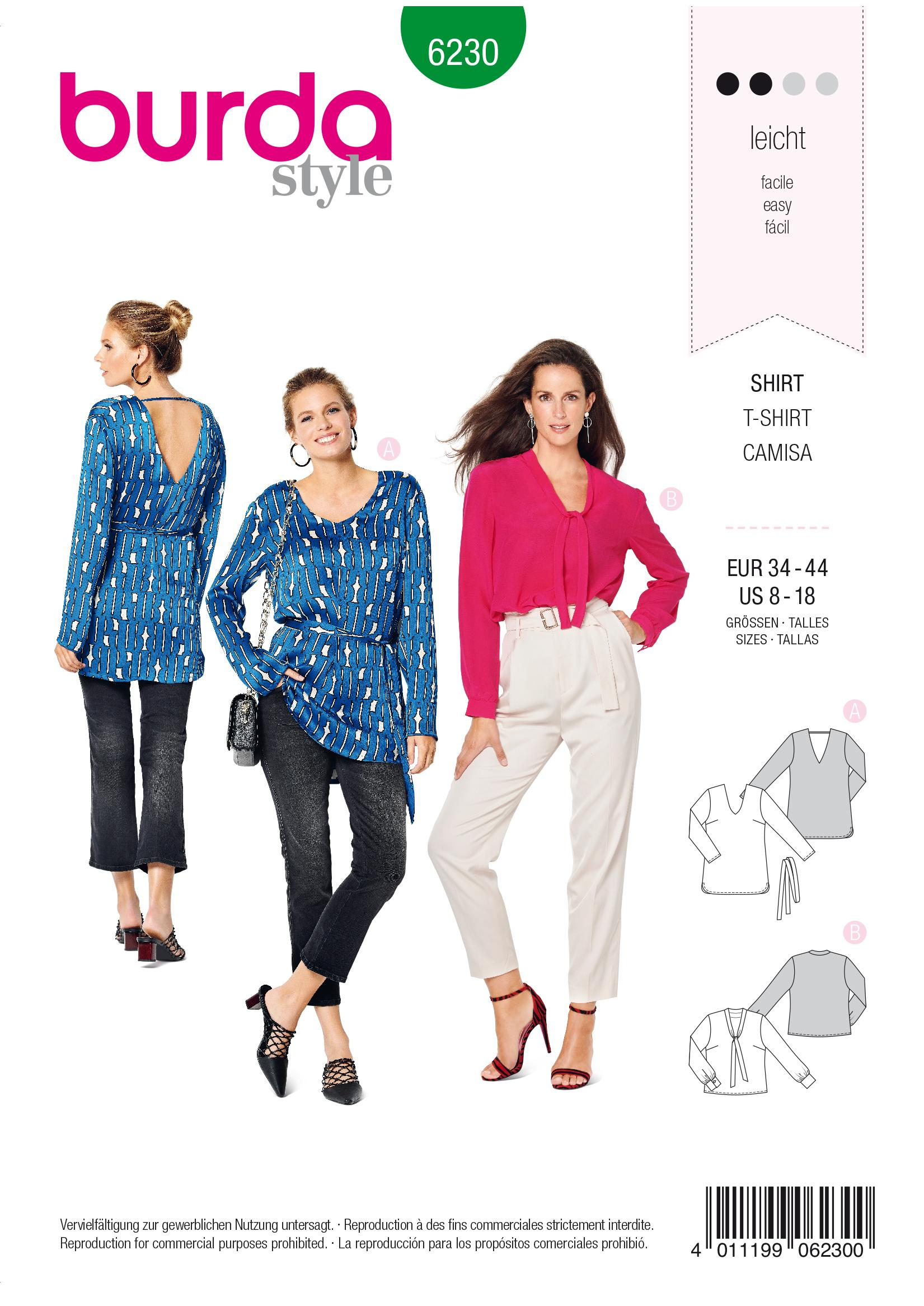 Burda B6230 Women's Blouse Sewing Pattern