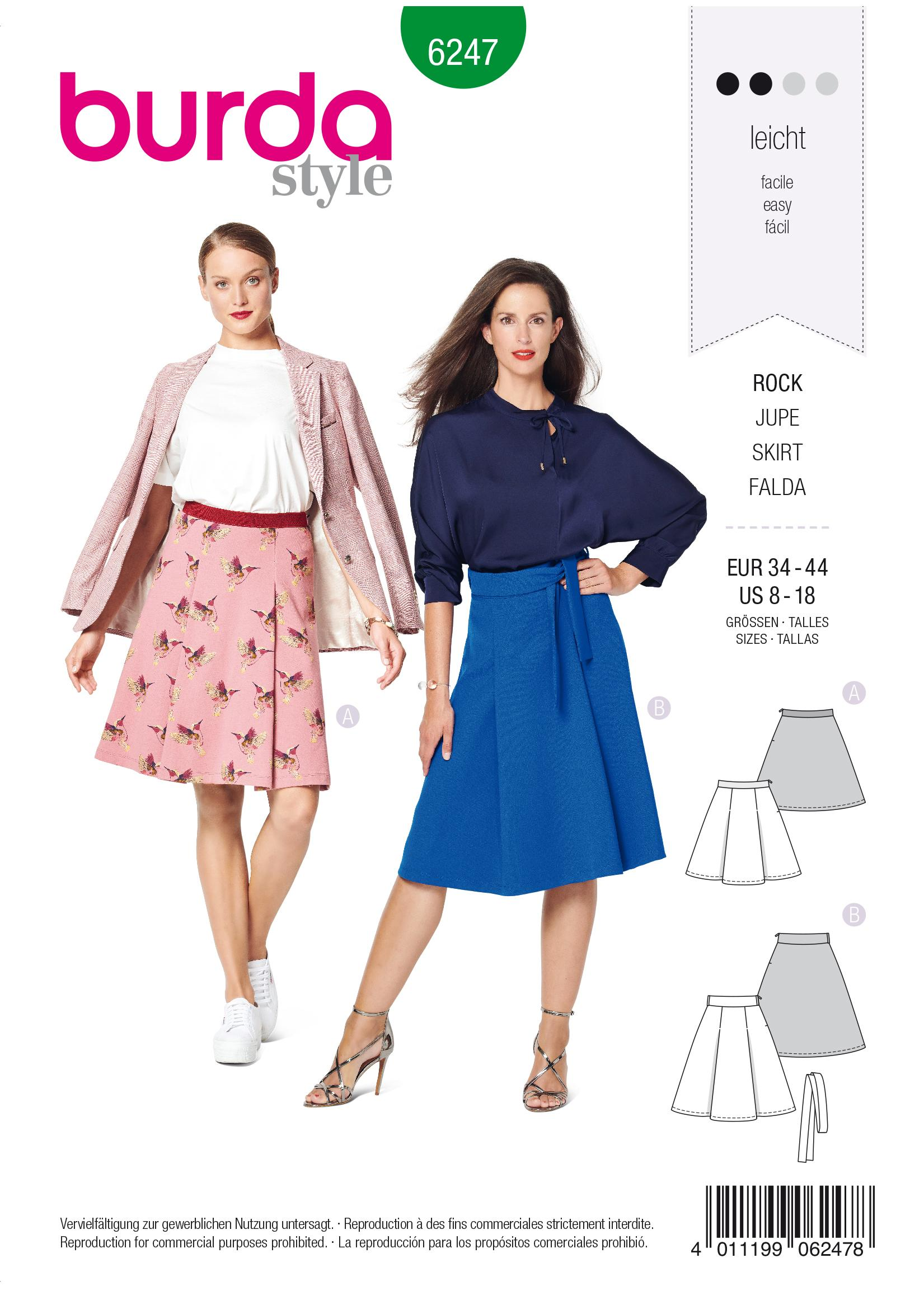 Burda B6247 Skirt with Pleats Sewing Pattern