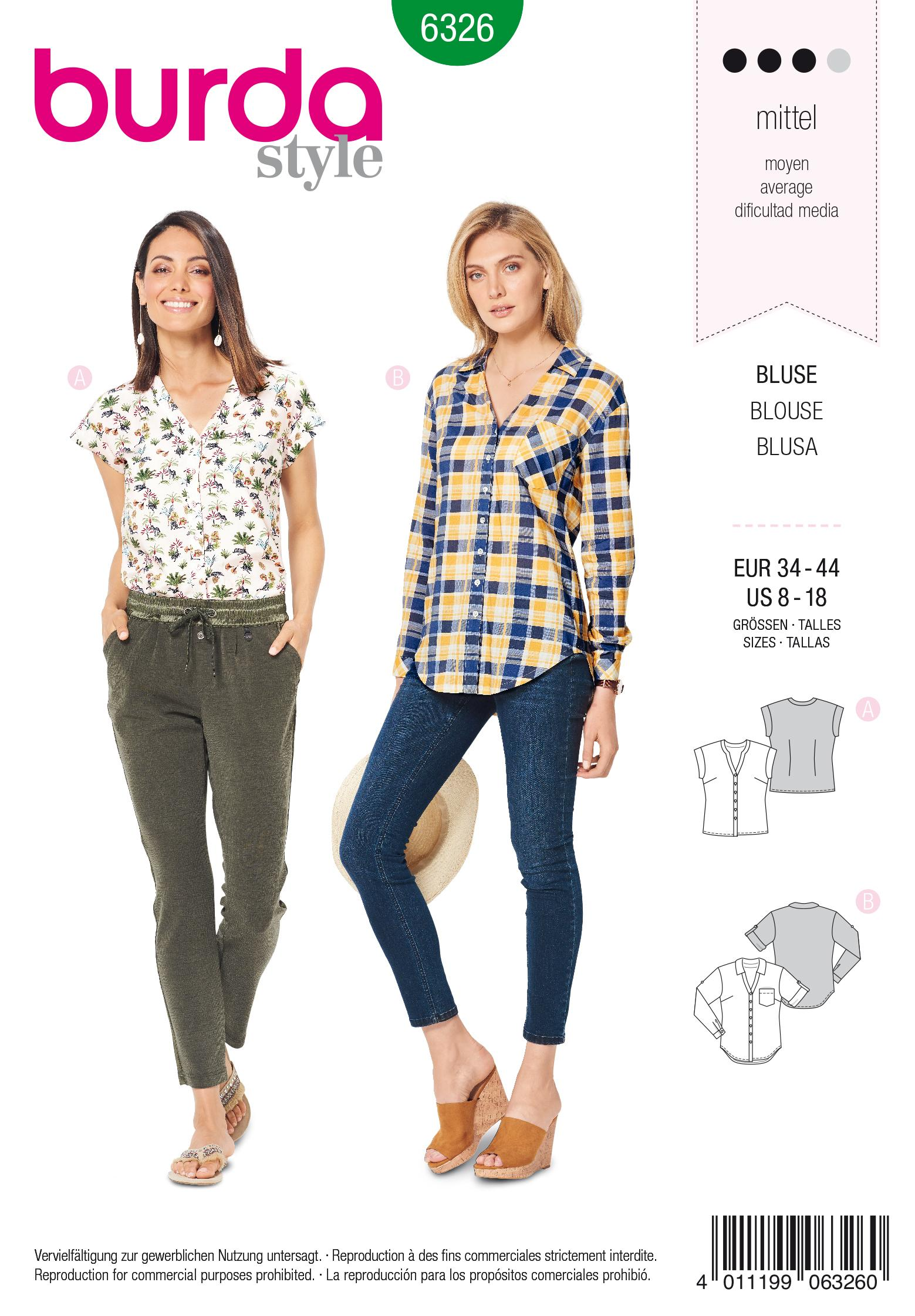 Burda 6326 Misses' shirt with v neck