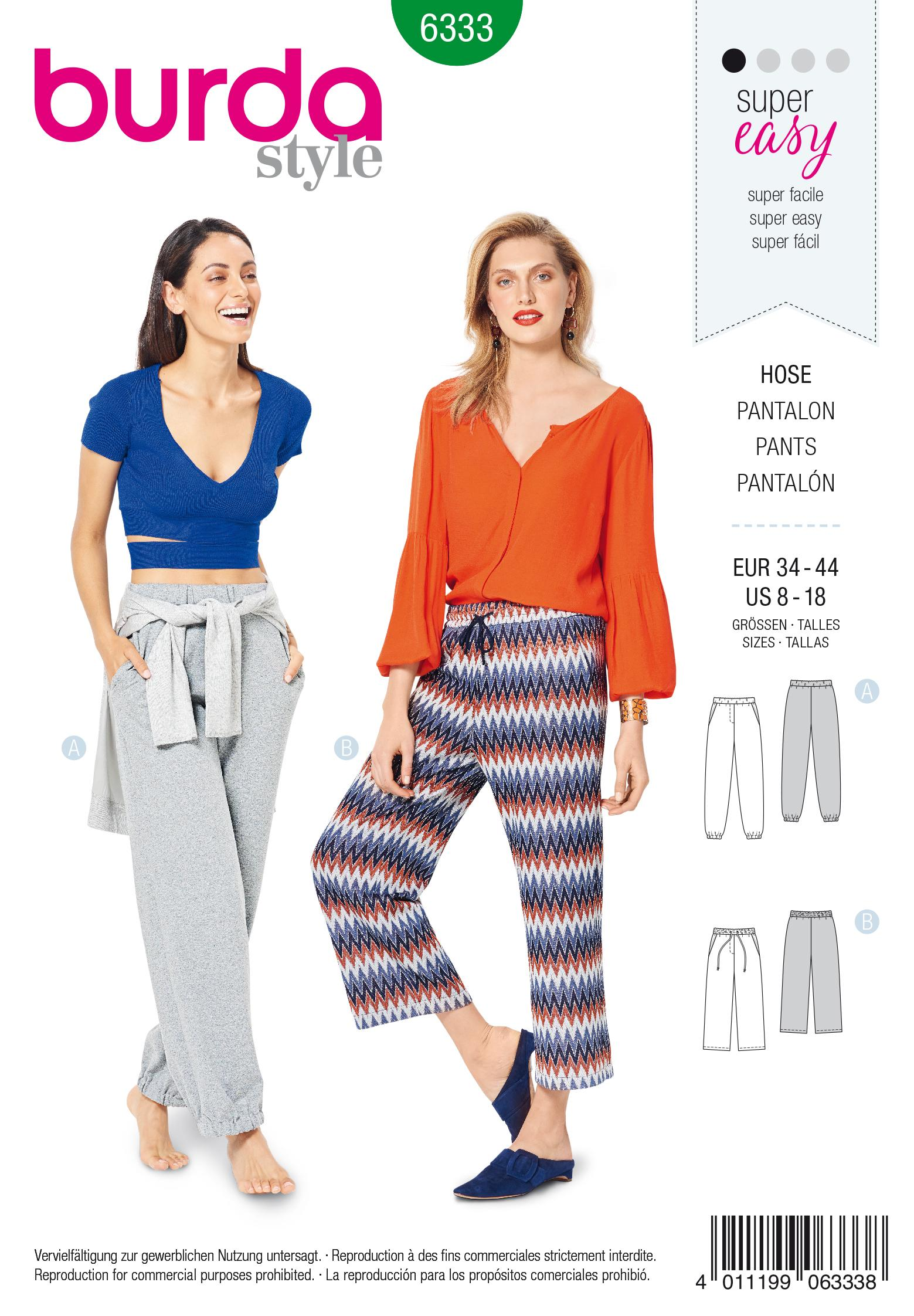 Burda 6333 Misses' jogging pant
