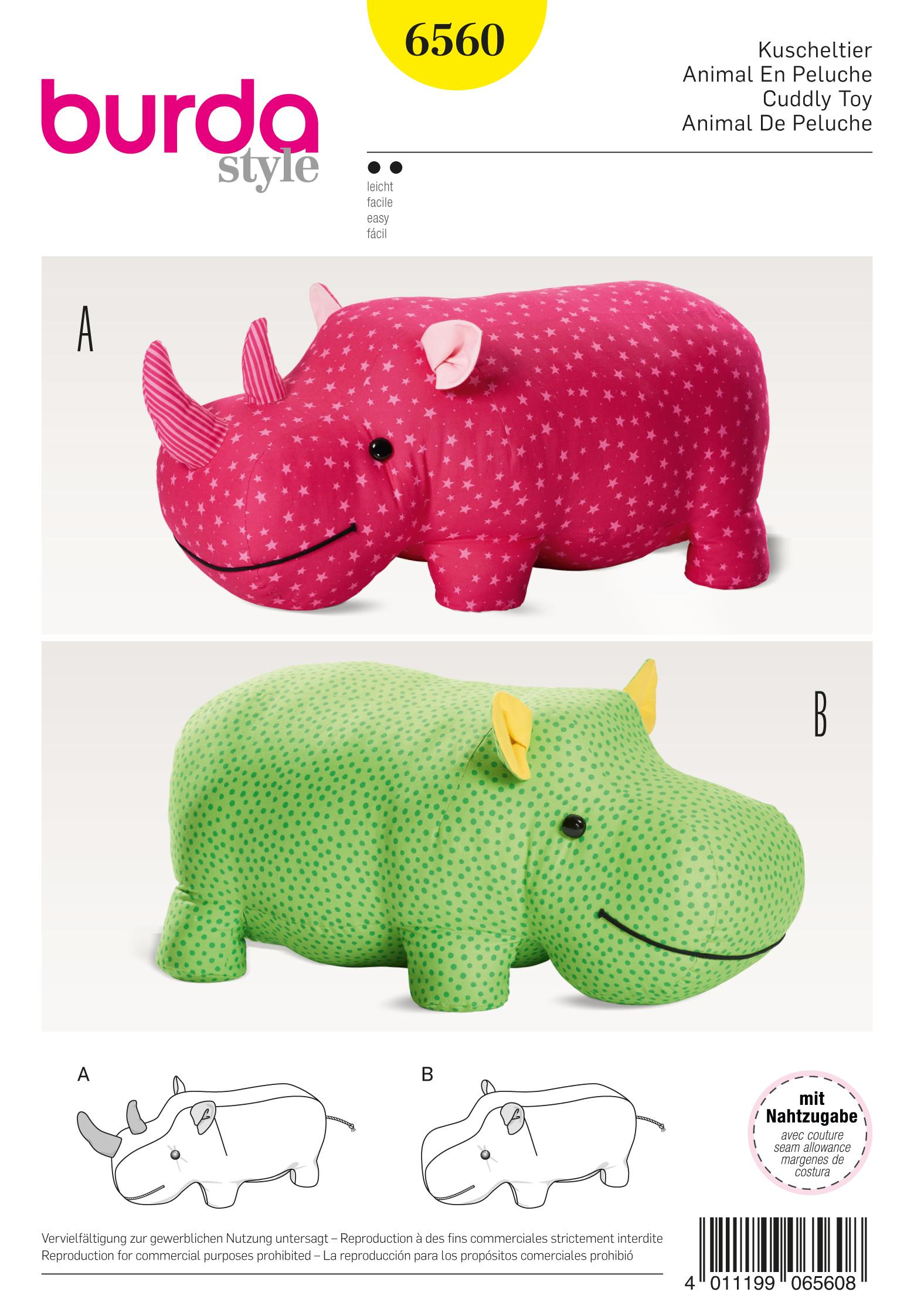 Burda B6560 Stuffed Hippo or Rhino