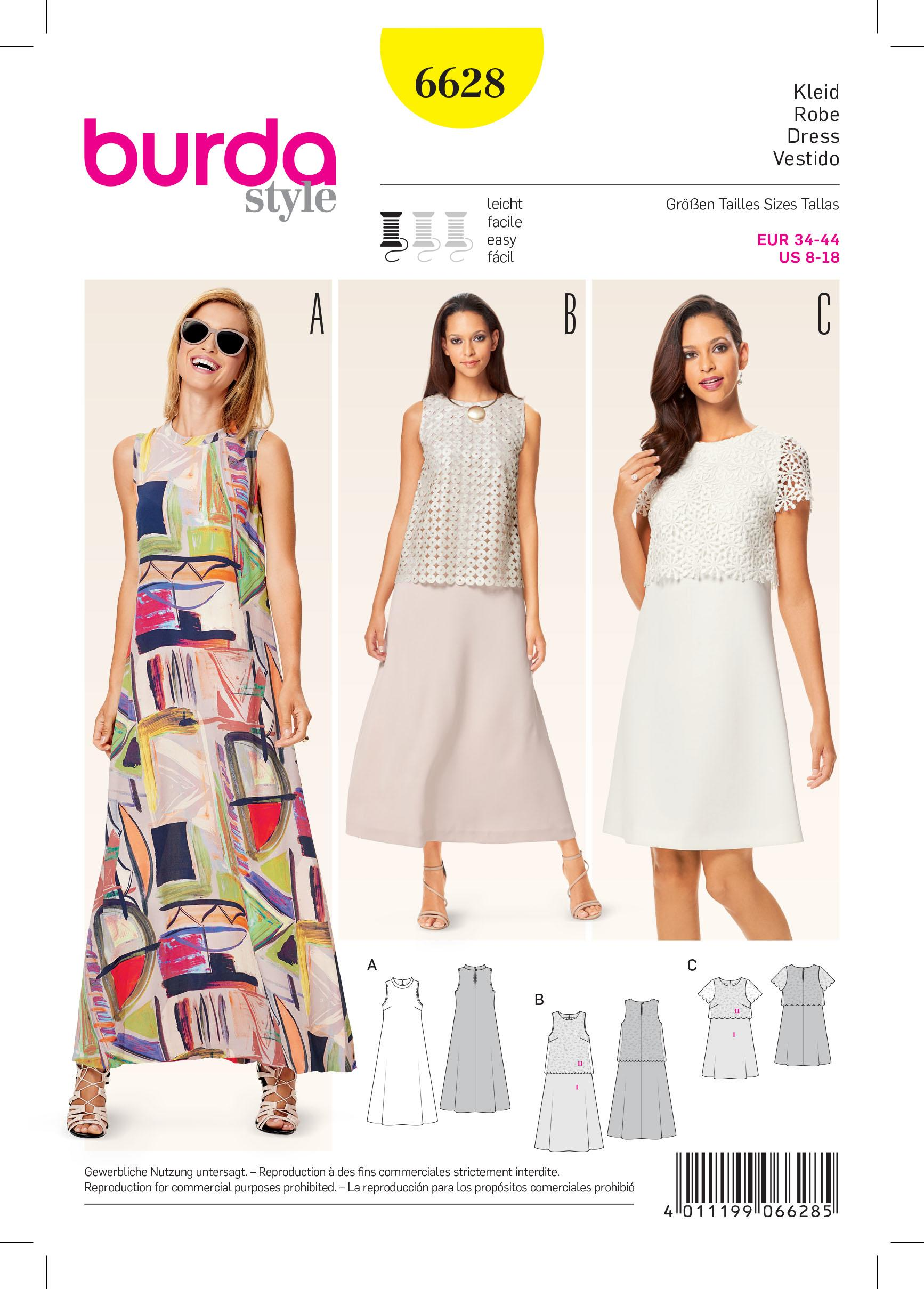 Burda B6628 Women's Dress Sewing Pattern