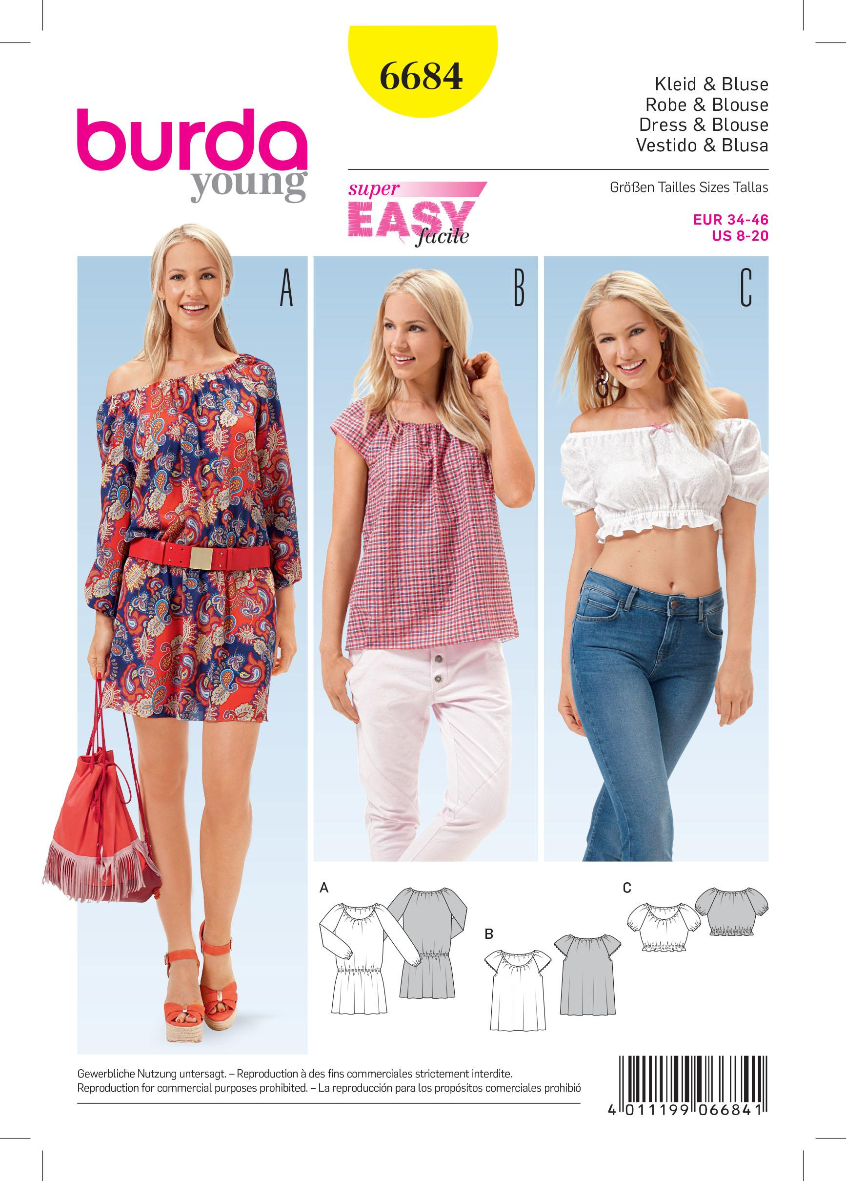 Burda B6684 Women's Dress & Blouse Sewing Pattern
