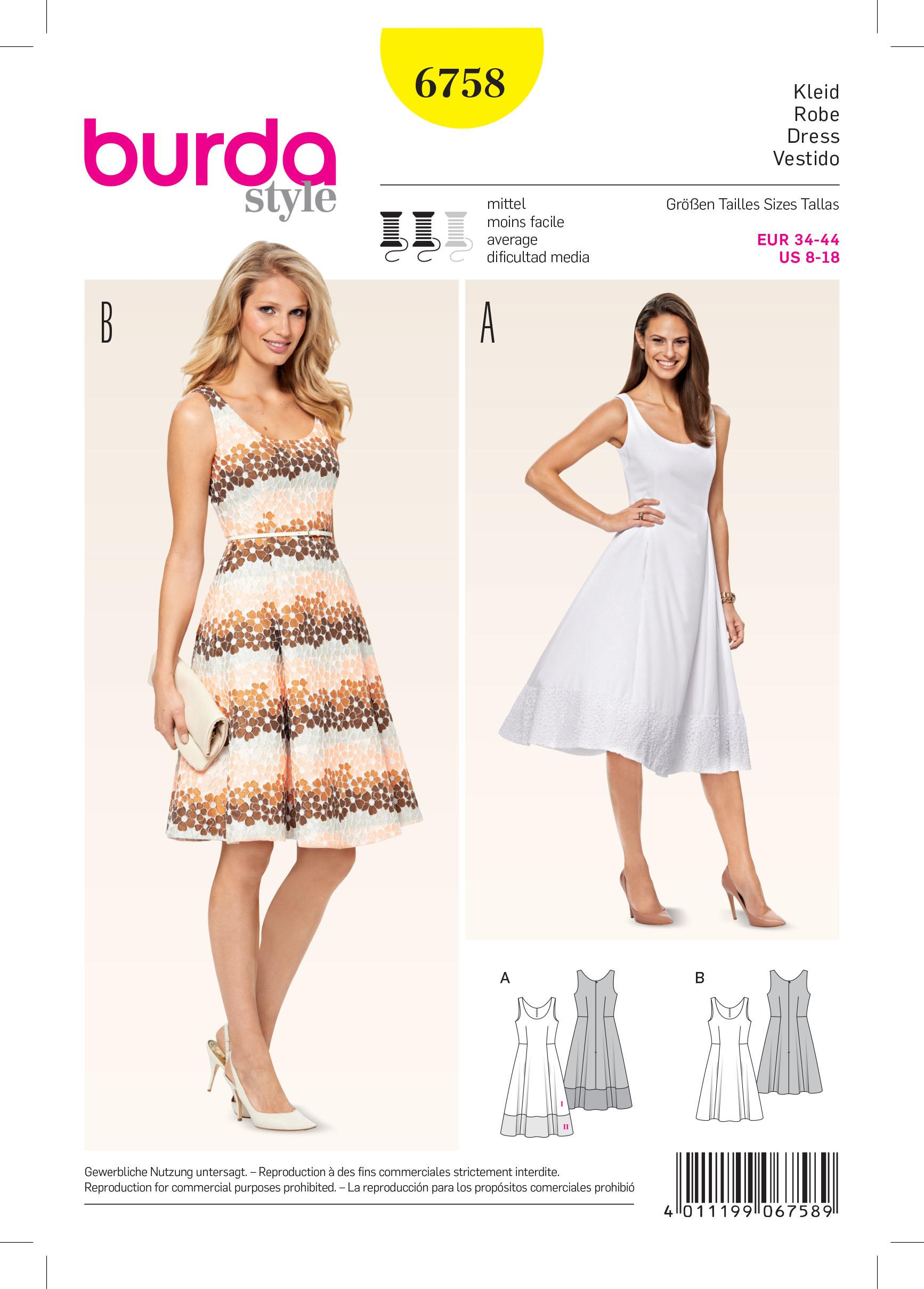 Burda B6758 Dresses Sewing Pattern