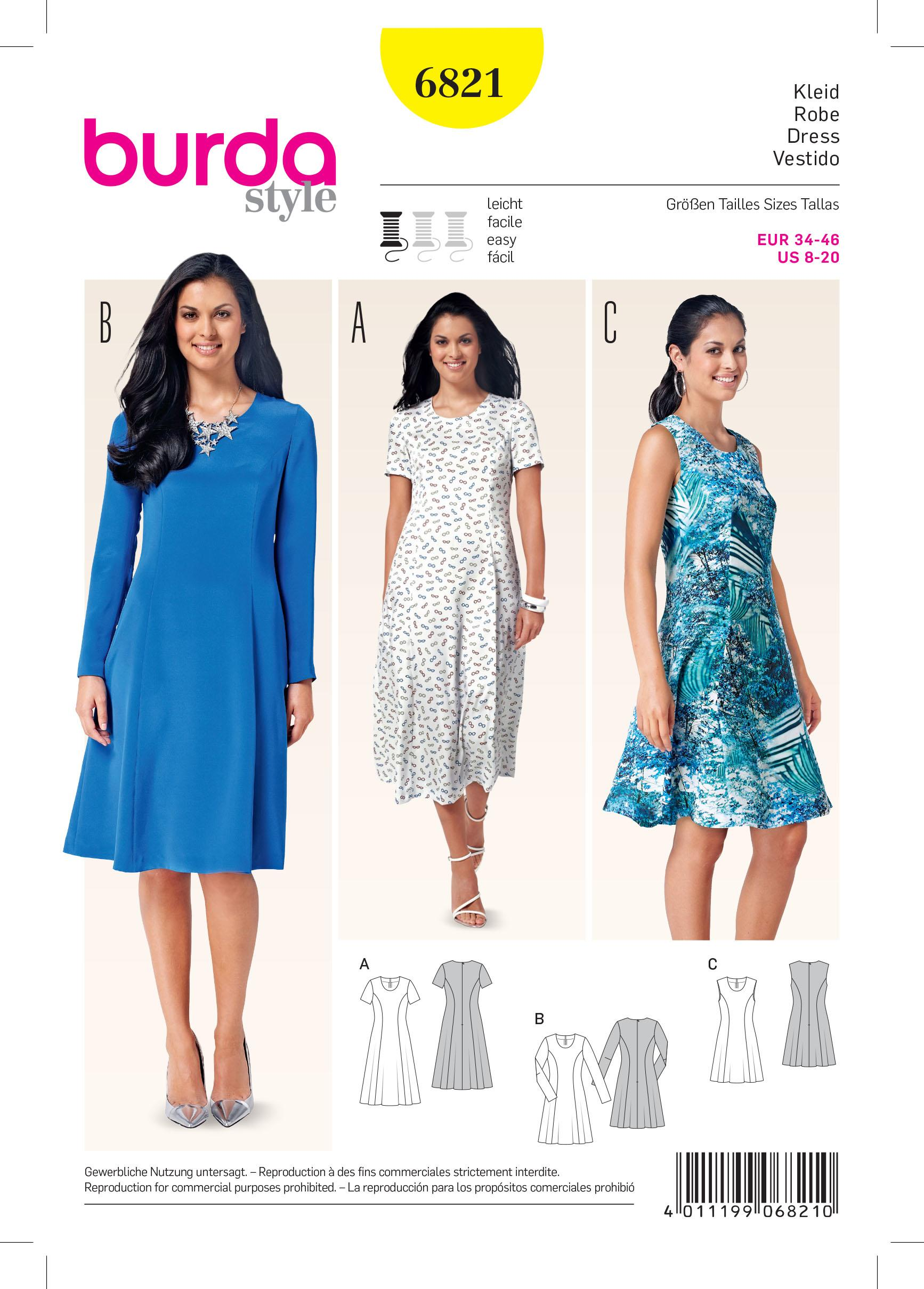 Burda B6821 Dresses Sewing Pattern
