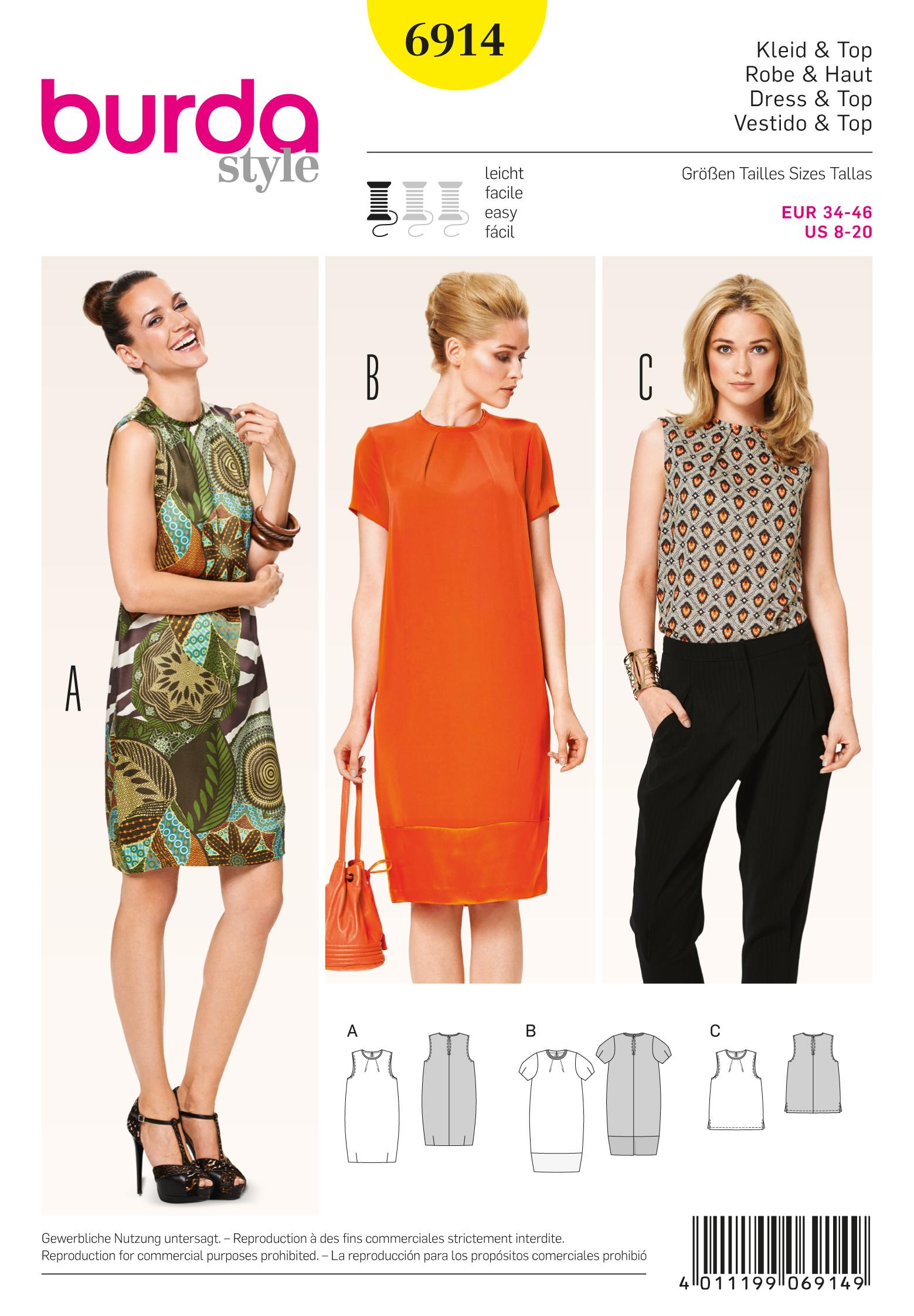 Burda B6914 Burda Dresses  Sewing Pattern