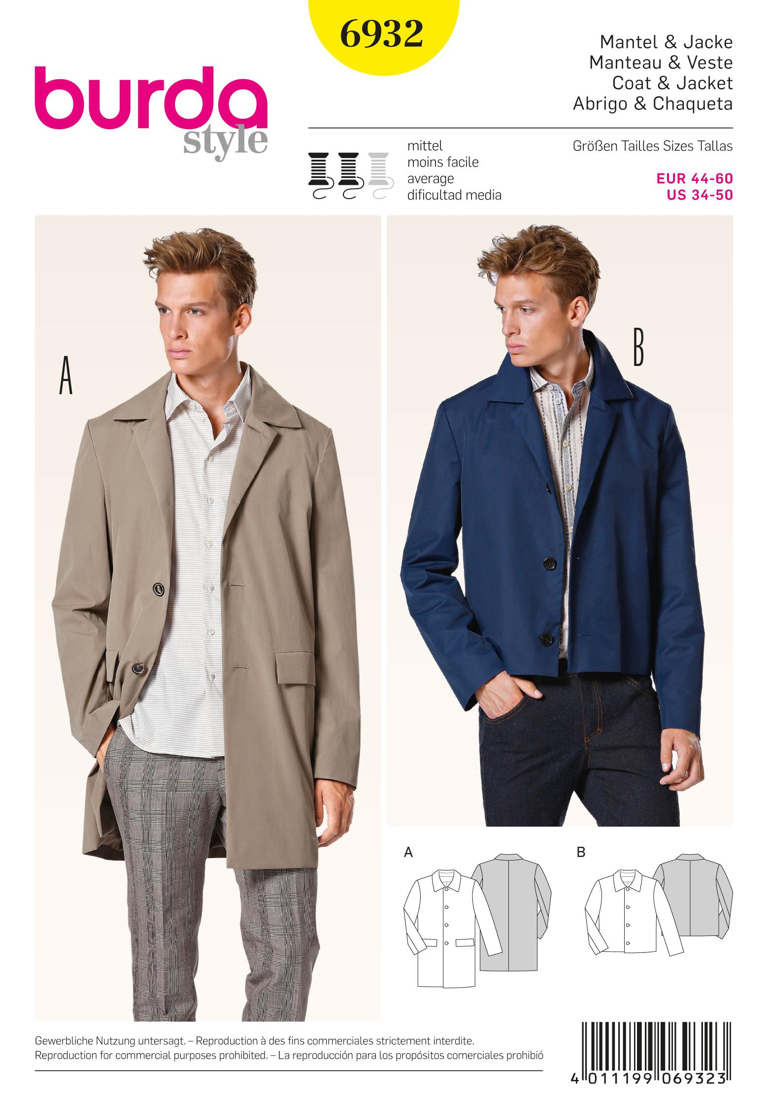Burda B6932 Burda Menswear Sewing Pattern
