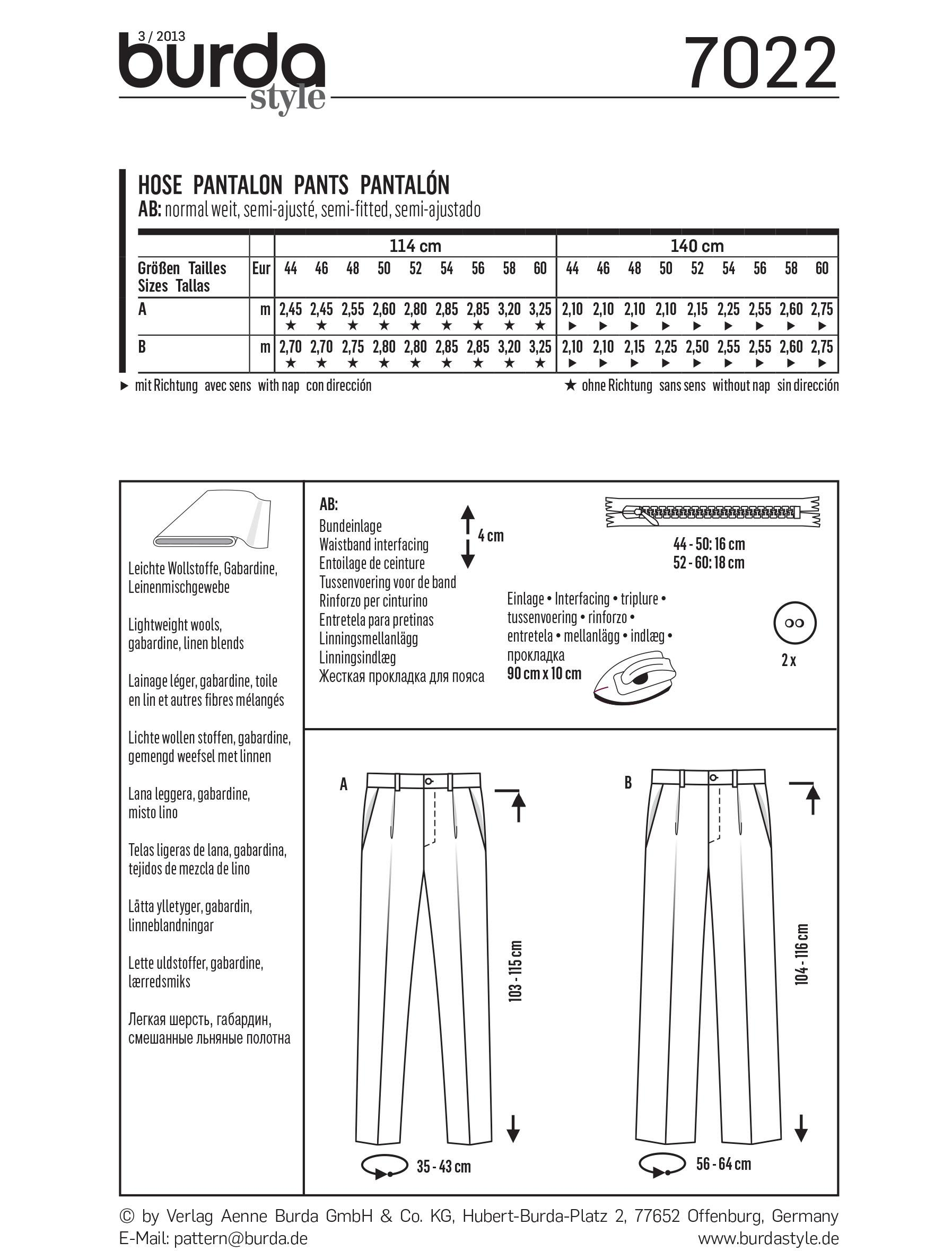 Burda B7022 Burda Trousers Sewing Pattern