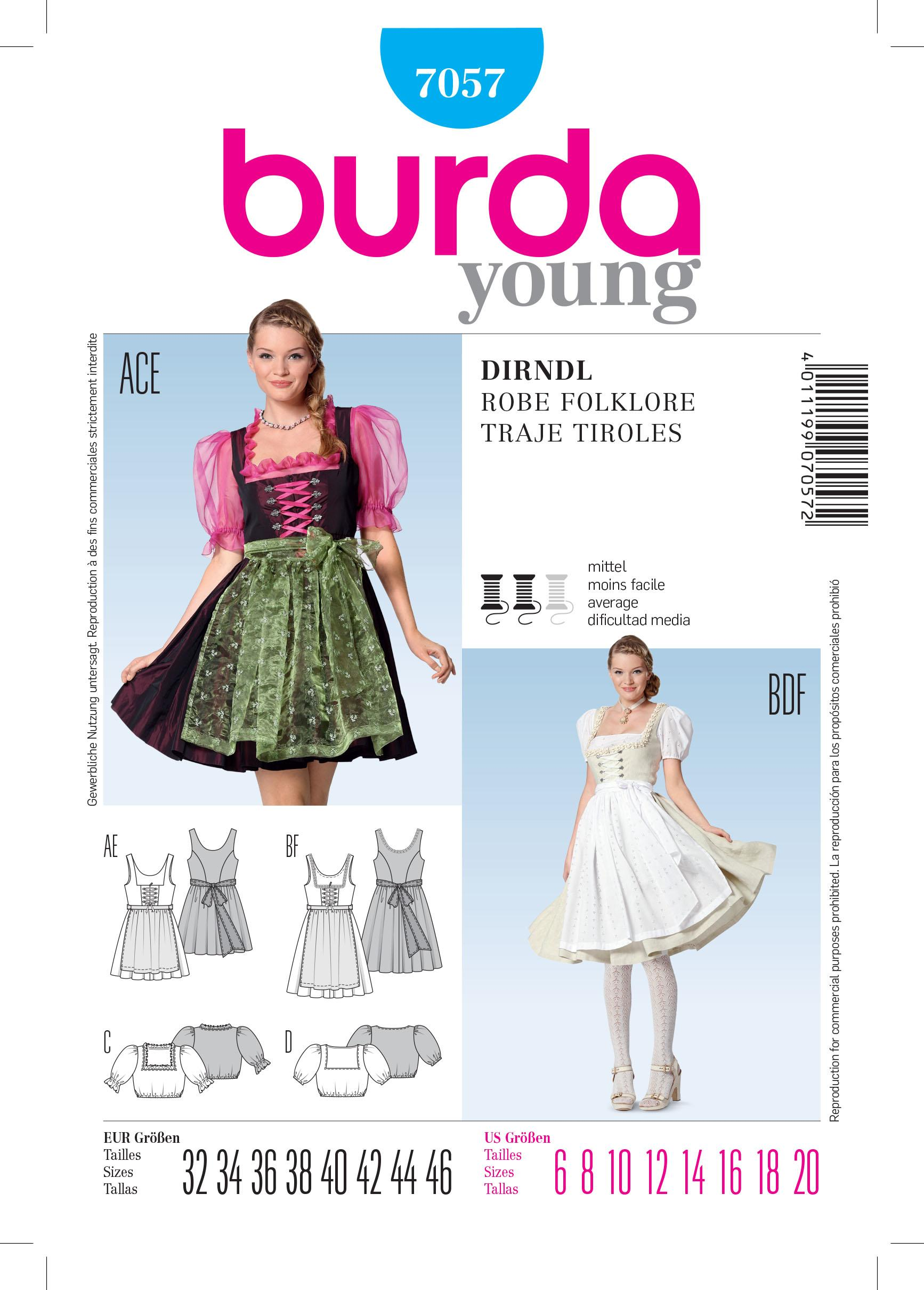 Burda B7057 Burda Folklore Dress Sewing Pattern