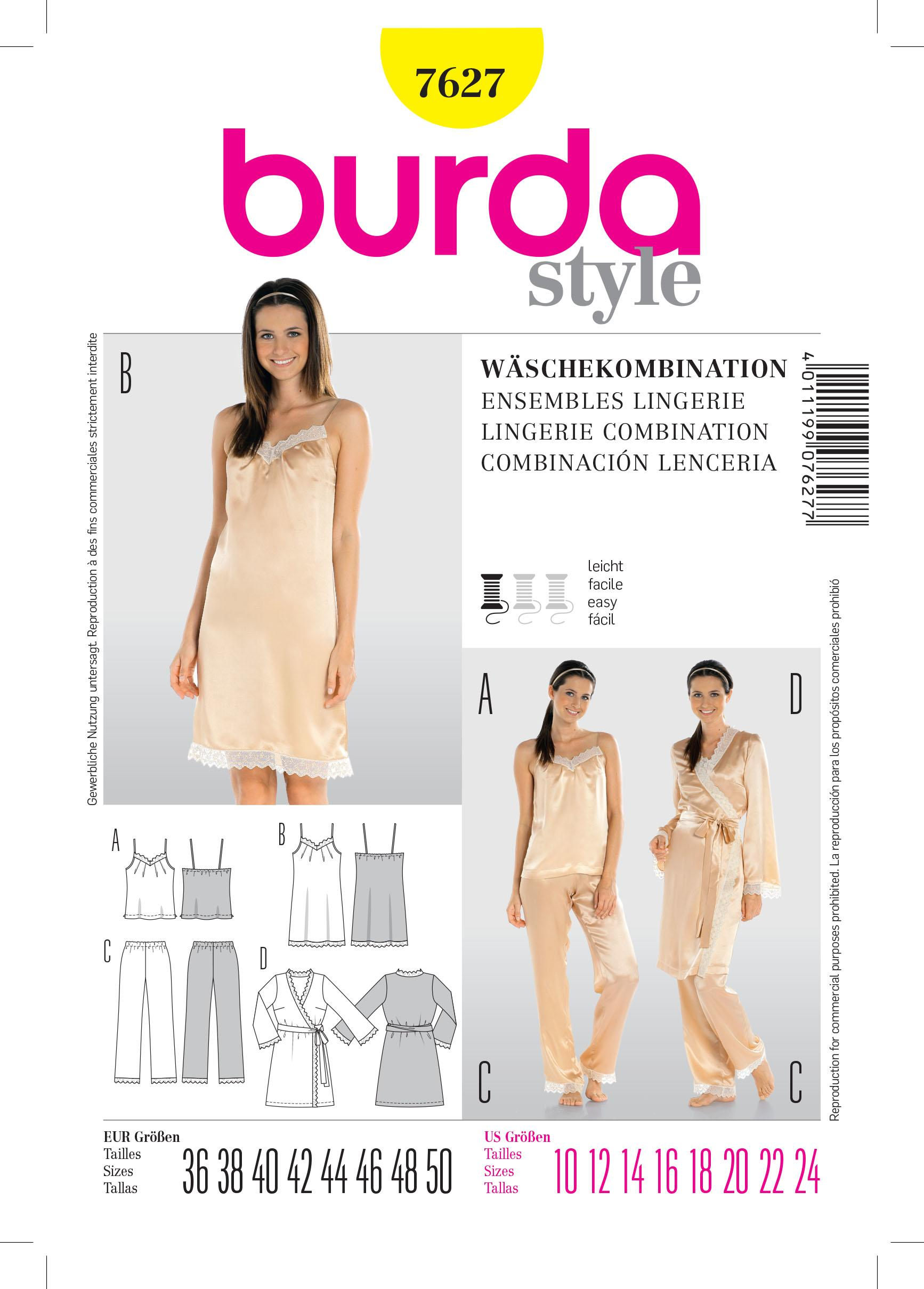 Burda B7627 Lingerie Combination Sewing Pattern