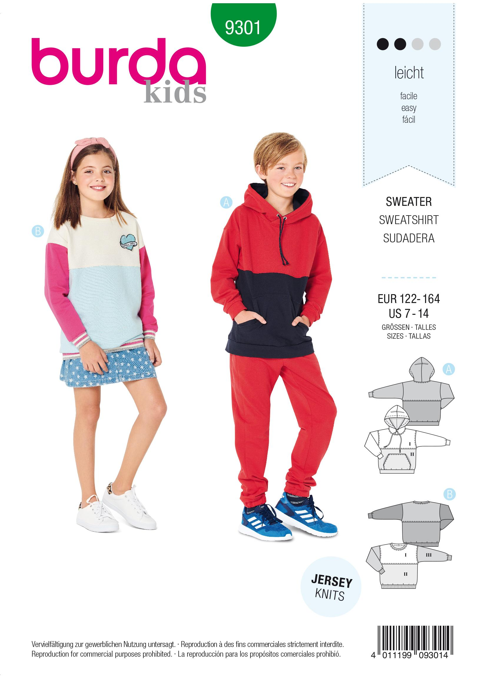 Burda B9301 Sweater & Hoodie Sewing Pattern