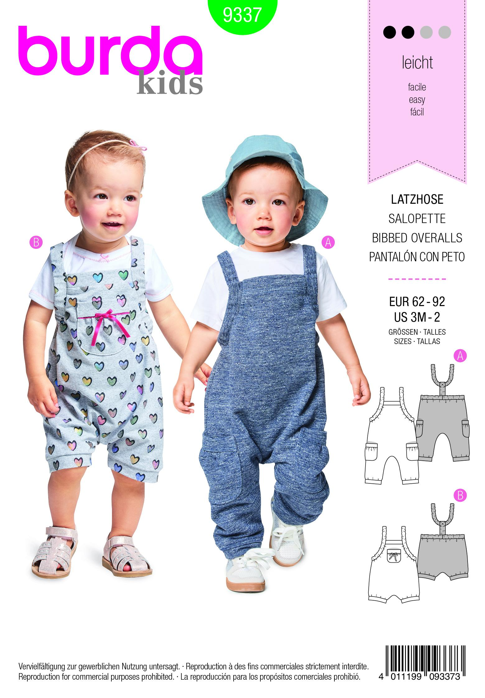 Burda B9337 Baby's Bidded Trousers